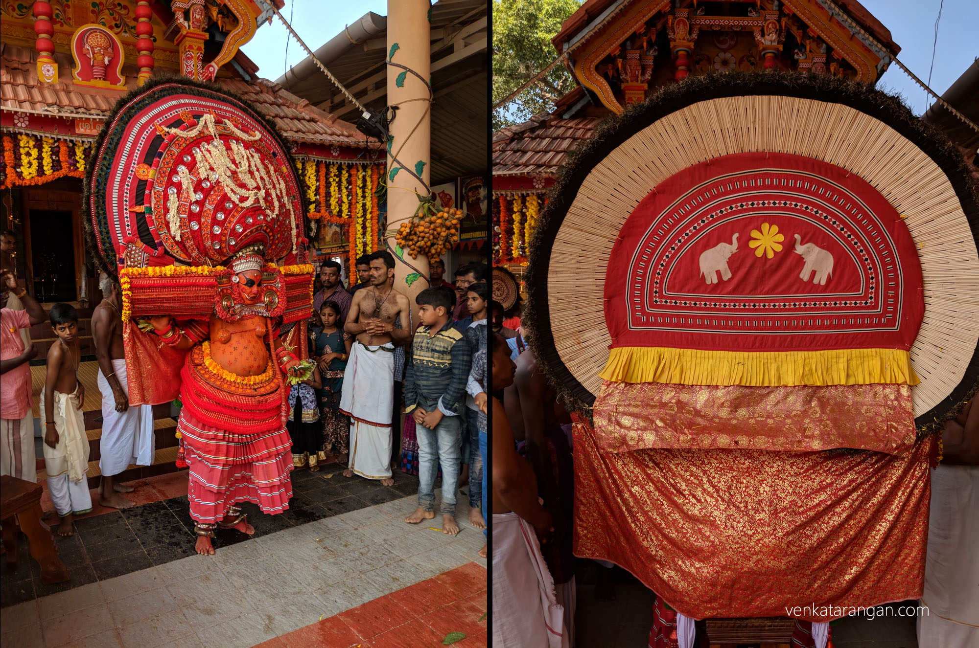 Theyyam performer with his breathtaking costume and large headdress