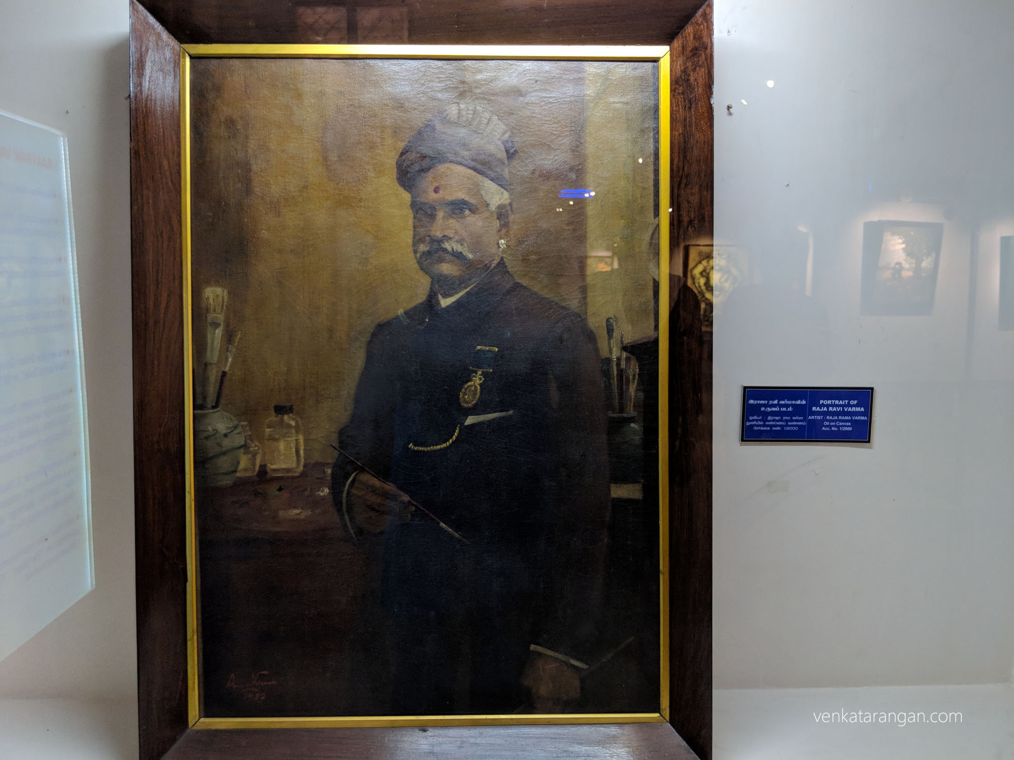 Portrait of Raja Ravi Varma (29 April 1848 – 2 October 1906) was a celebrated Indian painter and artist. He is considered among the greatest painters in the history of Indian art, his works are held to be among the best examples of the fusion of European techniques with a purely Indian sensibility.