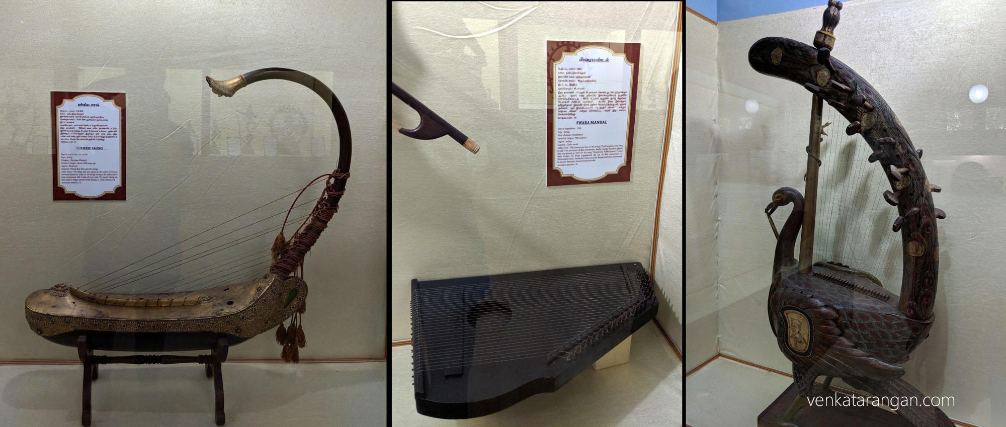 1) Burmese Saung (பர்மிய சாங்). Origin: 1500 years. மரம், மான் தோல், பட்டு நூலில் நரம்புகள். 2) Swara Mandal (ஸ்வரமண்டல்). Cedar Wood. Has 21-36 strings.3)Peacock Yazh (மயில் யாழ்).
