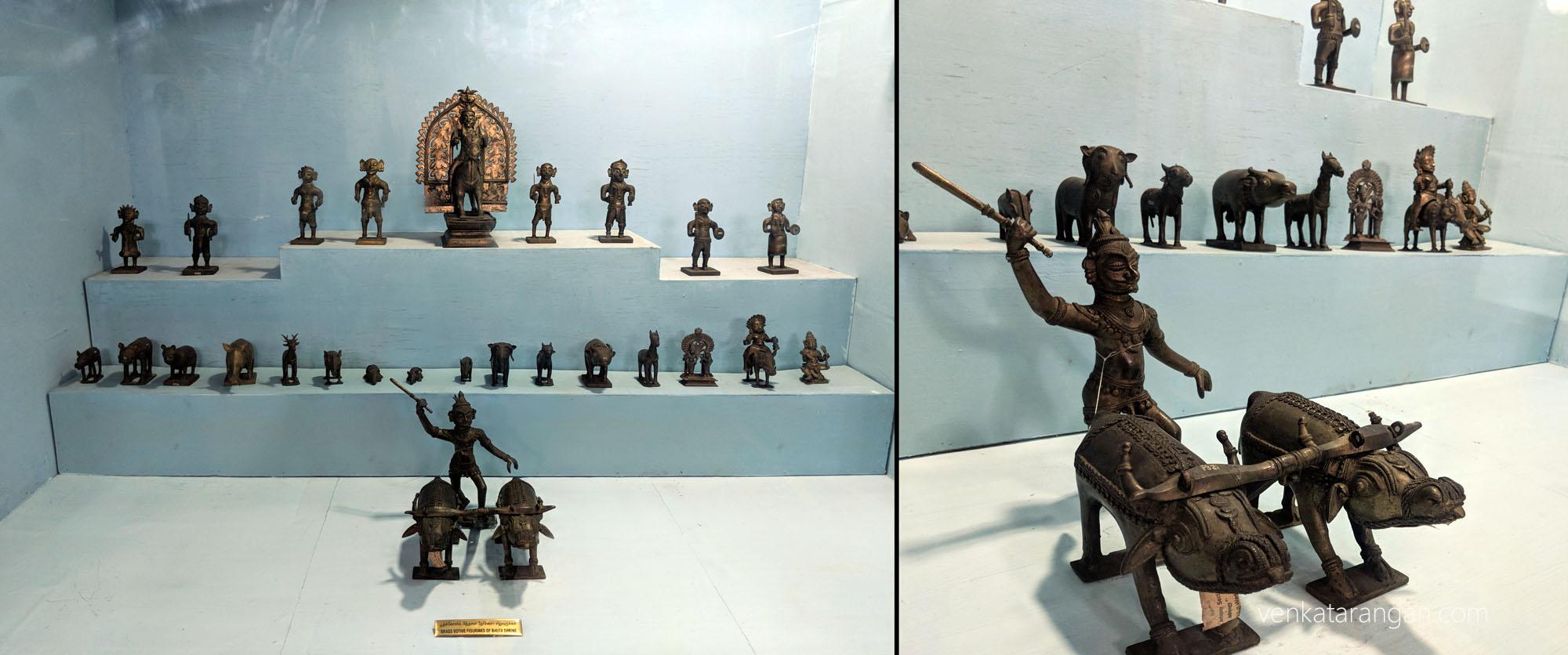 Votive offerings of Bhootha Shrine-South Canara, Karnataka (பூதக் கோவில் நேர்ச்சைப் பொருள்கள்). Brass Figurines.