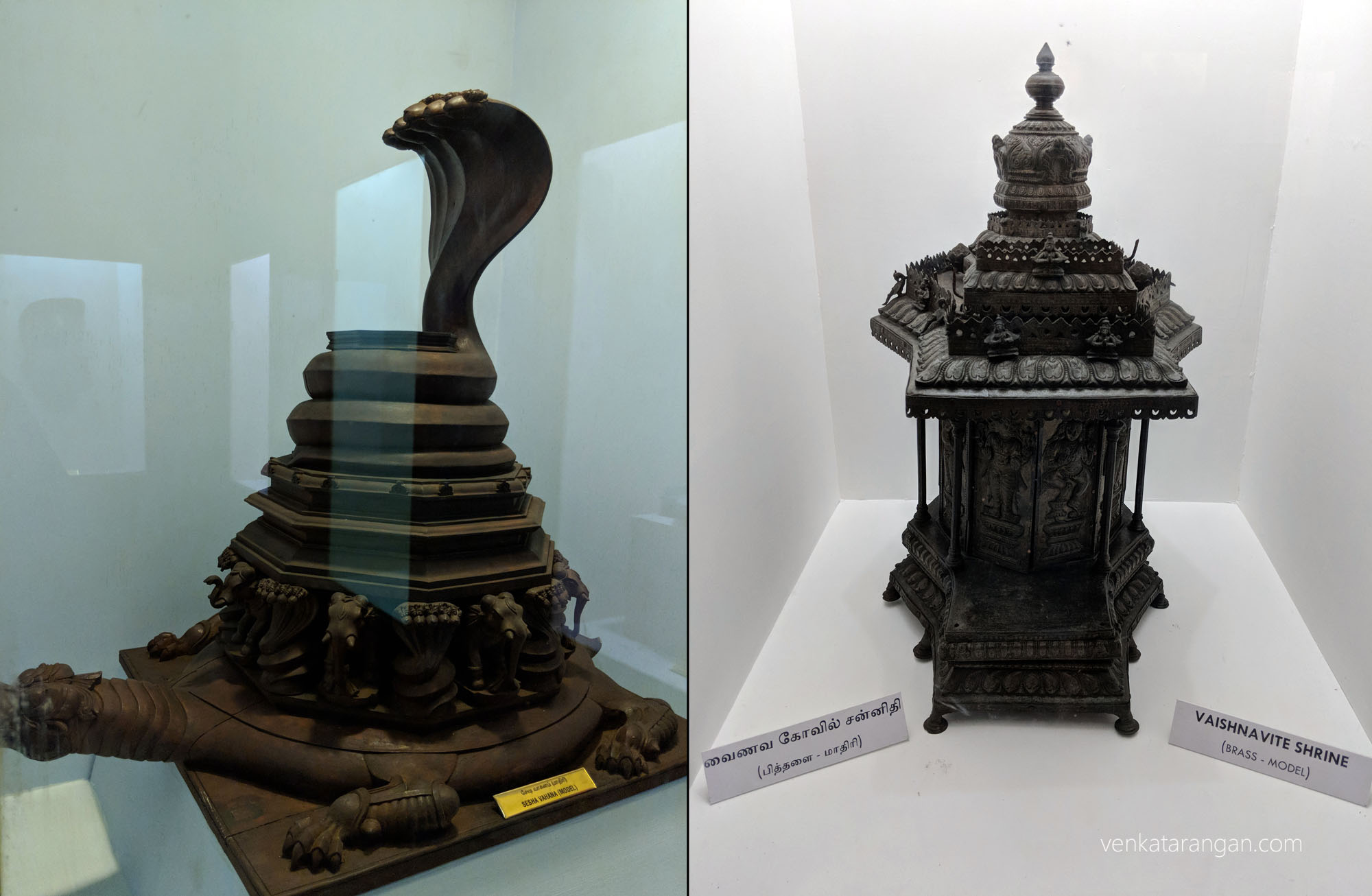 Left-Sesha Vahana model (சேஷ வாகனம்). The shape of a snake, vehicle of Lord Vishnu during festivals. Right-Vaishnavite Shrine, model made of Brass (வைணவ கோவில் சந்நித, பித்தளை)