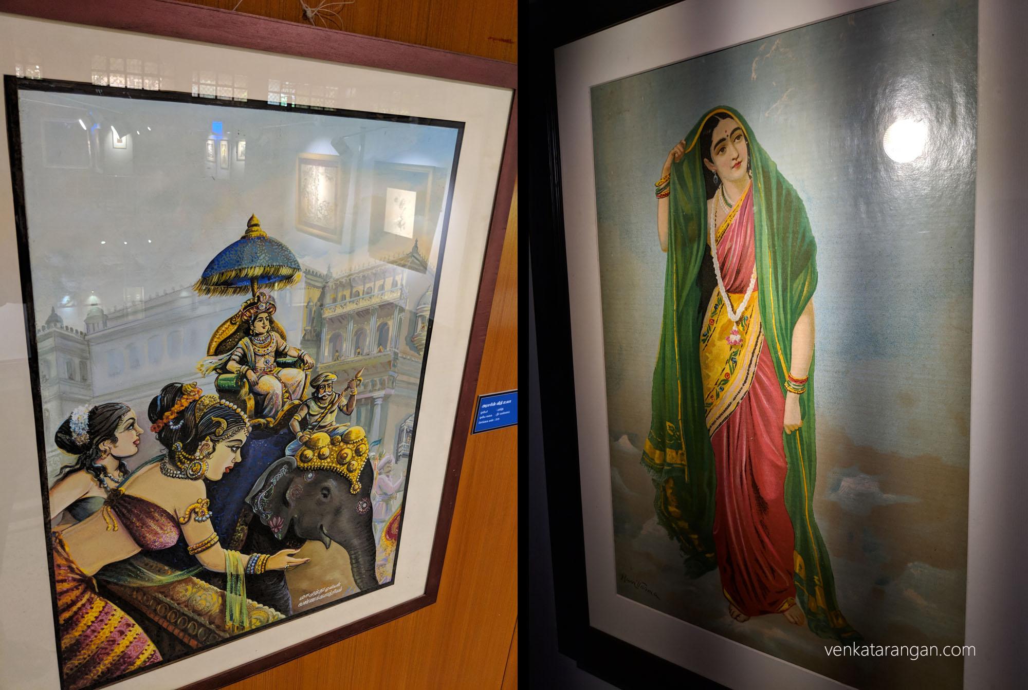 Left-அரசரின் வீதி உலா, ஓவியர்: மா.முத்து. Right-Rambha (இரம்பா), ஓவியர்: இராஜா ரவி வர்மா.