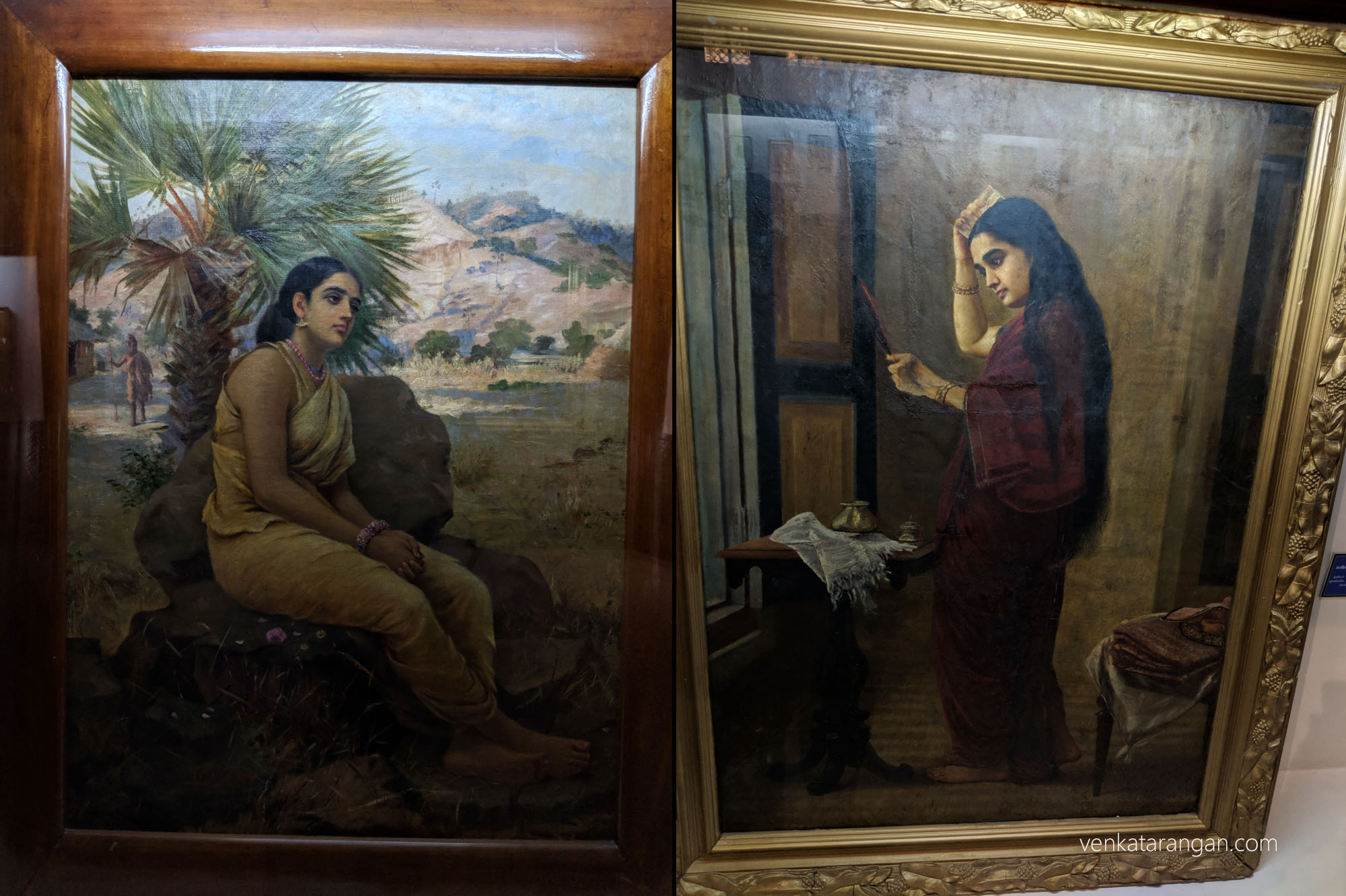 Left-Sakuntala (சகுந்தலா). Right-The Lady with a Mirror (1894)