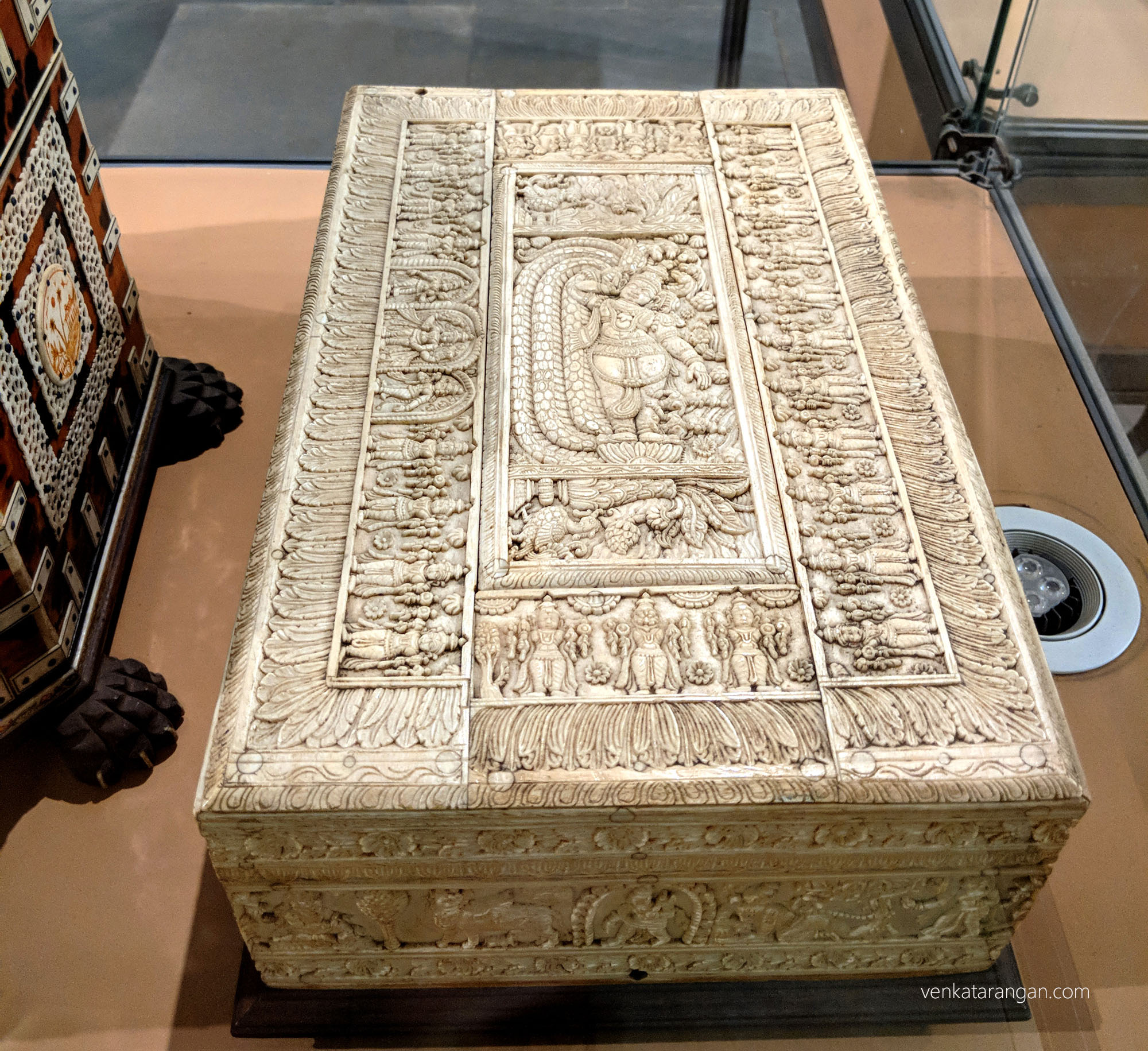 Intricate Ivory art, box showing various avatars of Lord Vishnu.