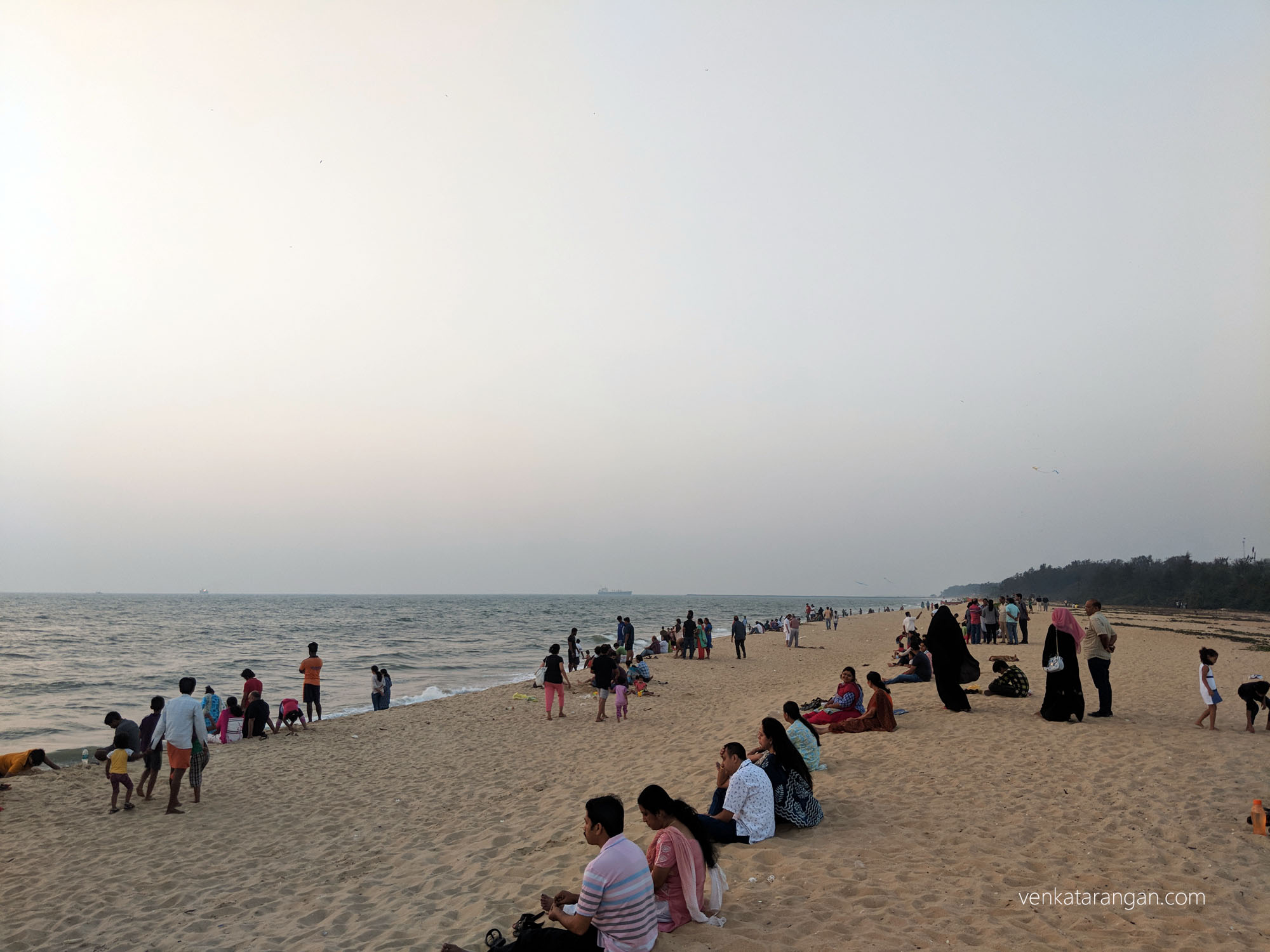 Residents enjoying the view - Tannirbhavi Beach, Mangalore