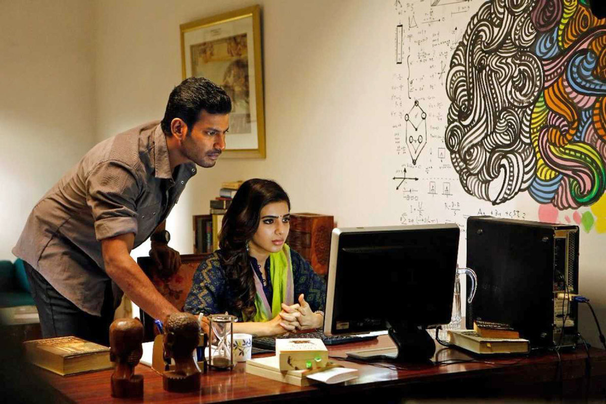 Vishal as Major R. Kathiravan and Samantha Akkineni as Dr. Rathi Devi