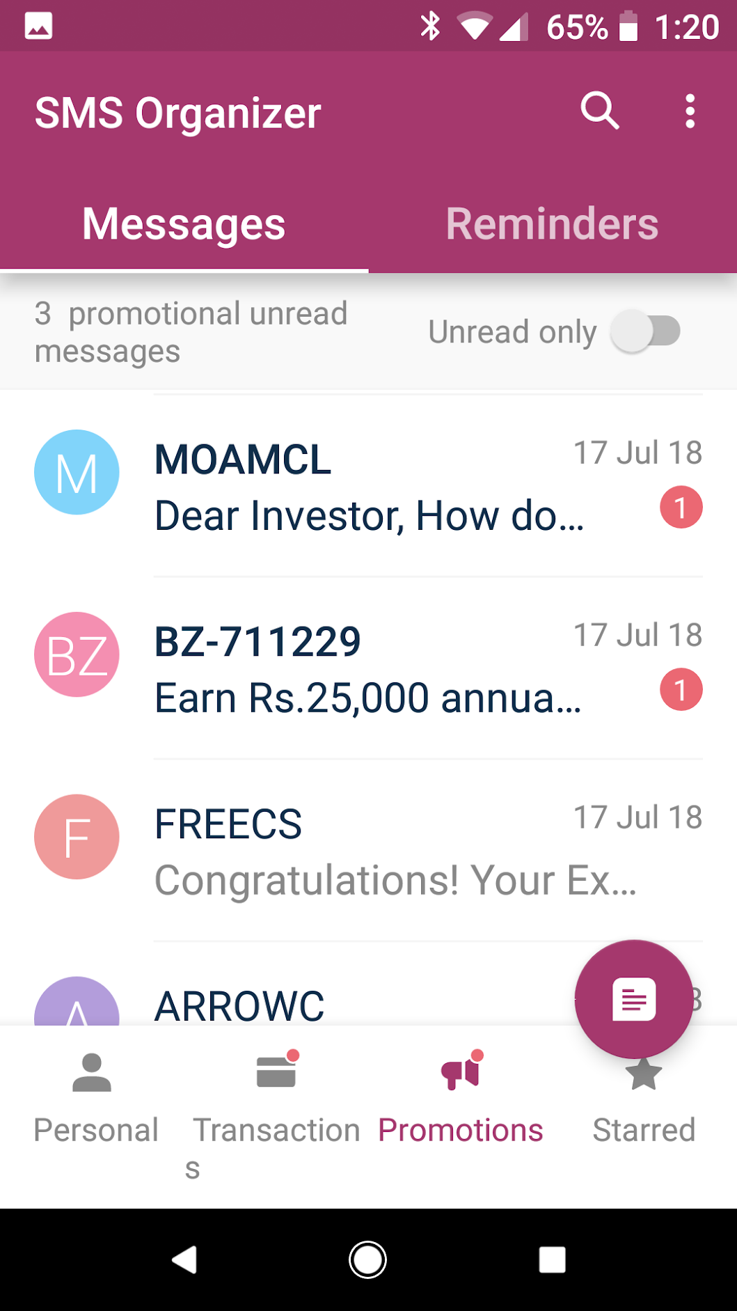Promotions Tab - Microsoft SMS Organizer