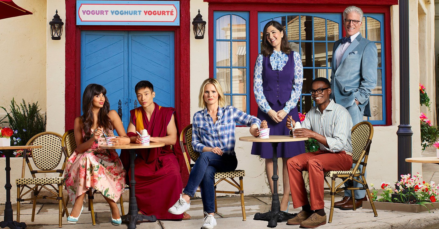 (From Left) Tahani Al-Jamil, Manny Jacinto, Kristen Bell, D'Arcy Carden, William Jackson Harper & Ted Danson