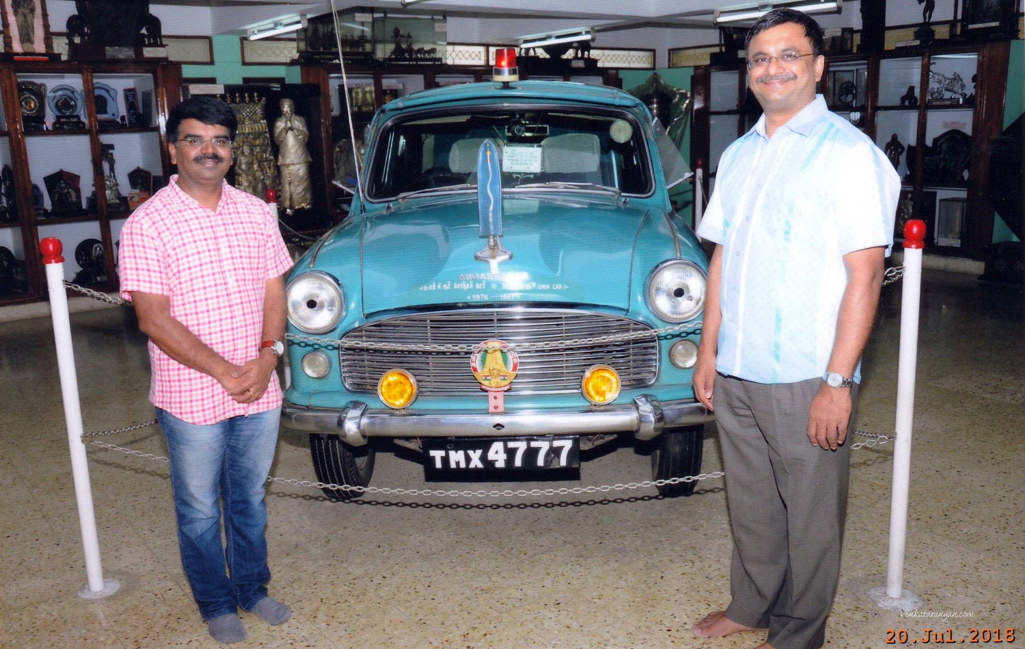 டாக்டர் எம்.ஜி.ஆர் அவர்களின் சொந்தக் கார் (1976-87). With E.Ravi near the Ambassador Car used by Dr.MGR from 1976-87.