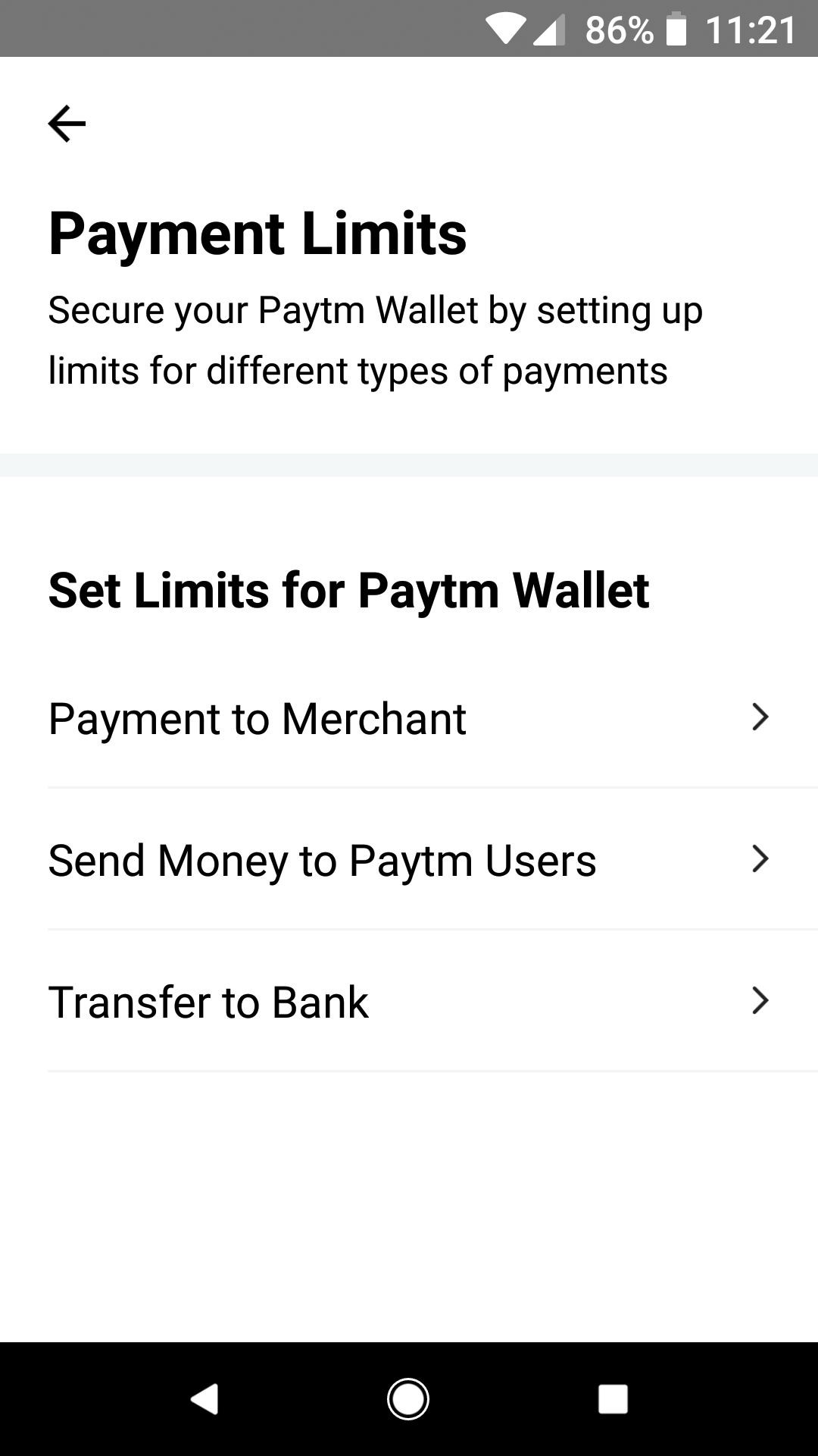 PayTM - Payment Limits