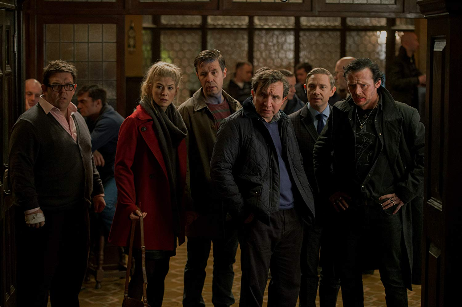 (From left) Nick Frost, Rosamund Pike, Paddy Considine, Eddie Marsan, Martin Freeman and Simon Pegg
