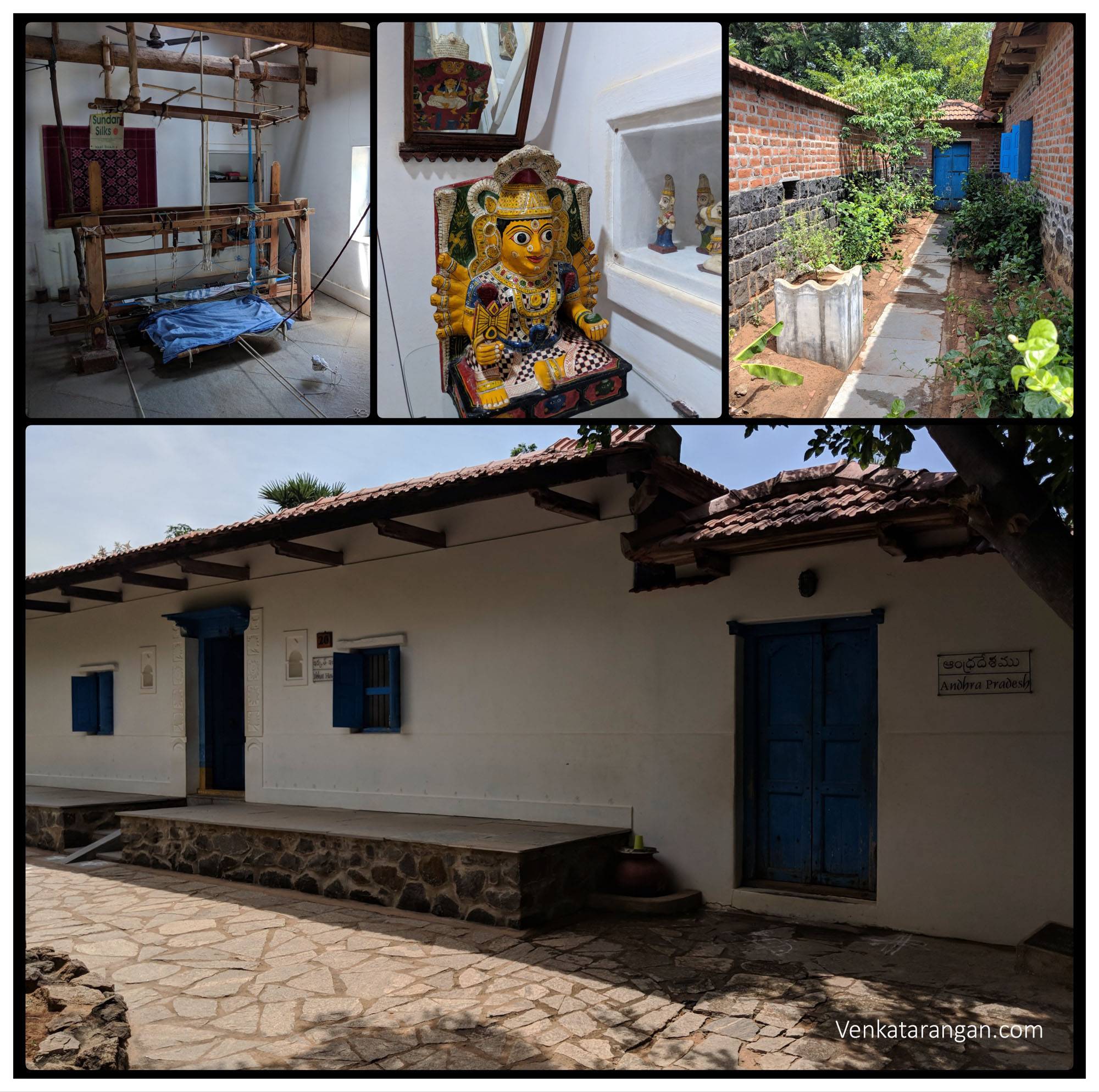 Andhra Pradesh - Ikkat House with their weaving machinery, Goddess & Backyard