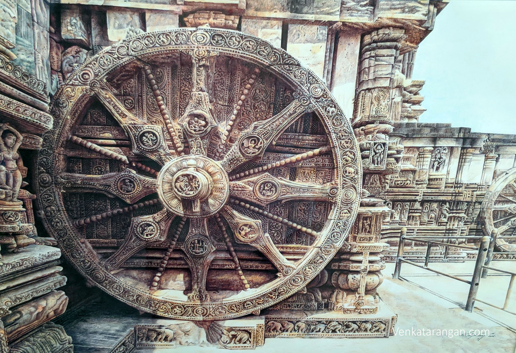 Look at the minute details of Konark Sun Temple by N.Bhagavathi Sundaram - Colour Ball Point Pen Drawing ₹50,000