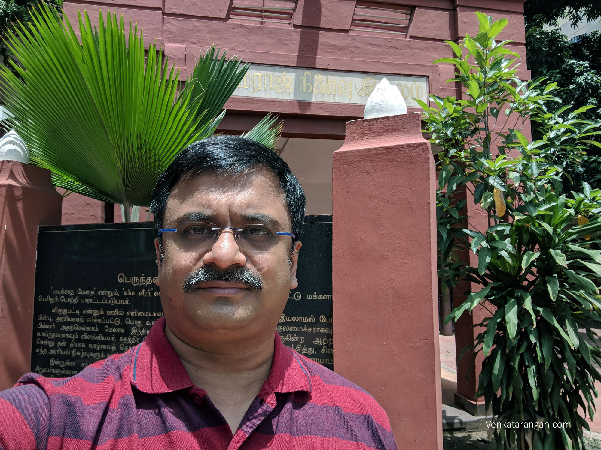 Venkatarangan in front of Kamarajar Memorial House, T.Nagar, Chennai
