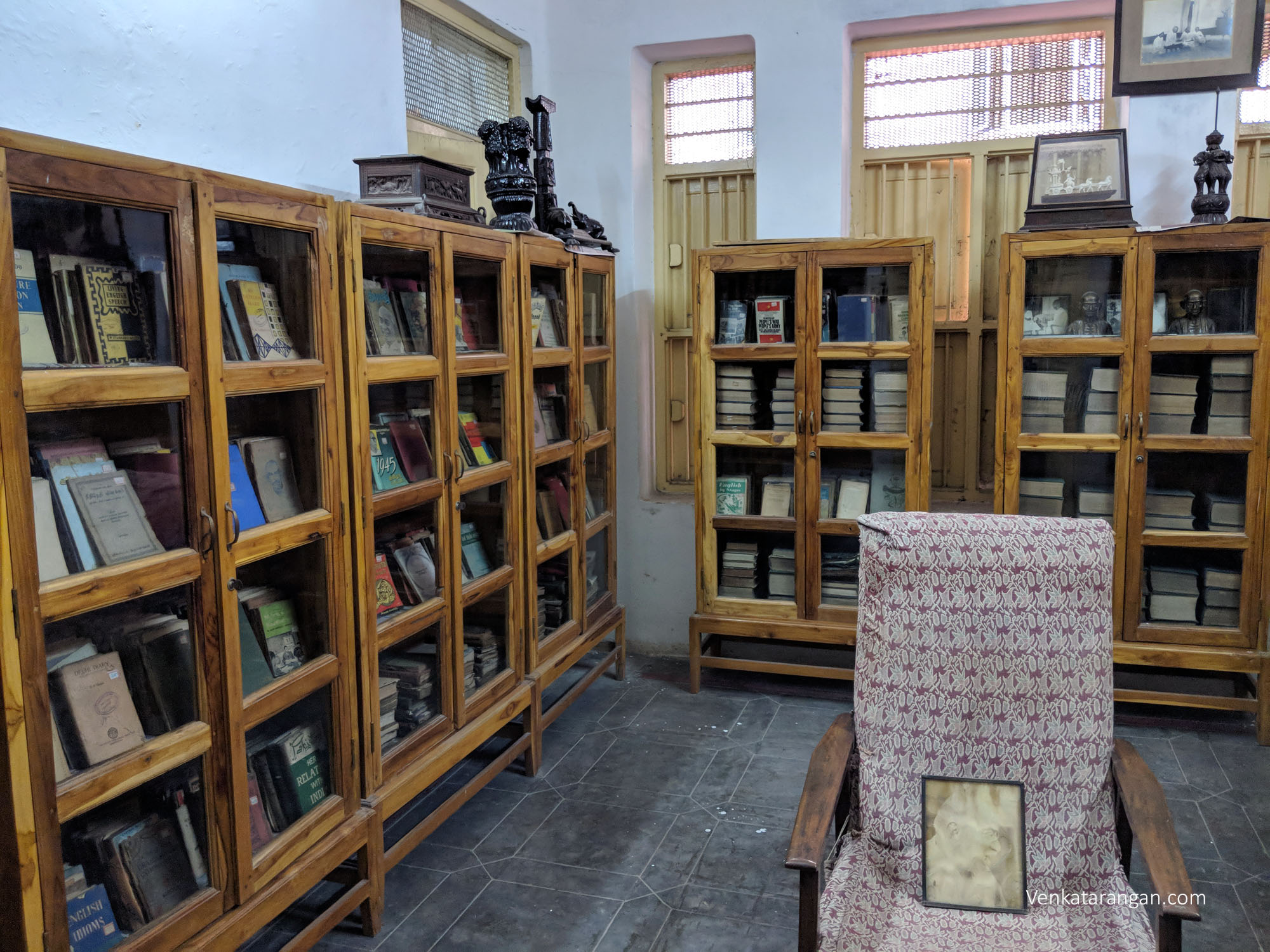 Living room and Library stocked with books in Tamil and English