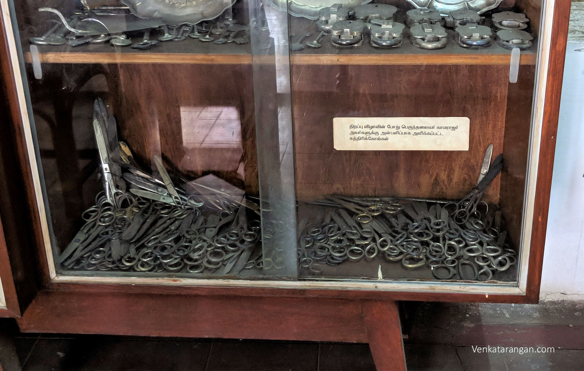 Exhibit of the many scissors that were presented to Kamarajar during inauguration events