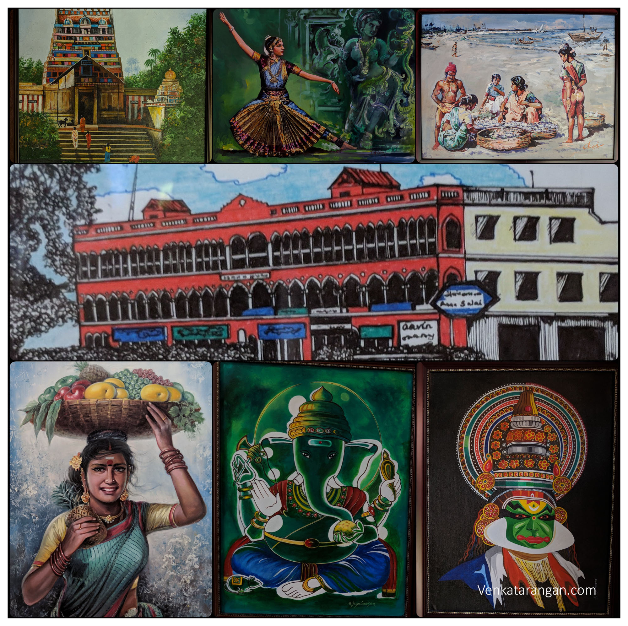 Paintings on Chennai - it's Gods, People, Life, Culture, Dance and Commerce