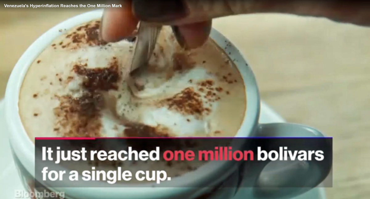 A cup of coffee now costs one million bolivars in Caracas, which is mere 29 US cents