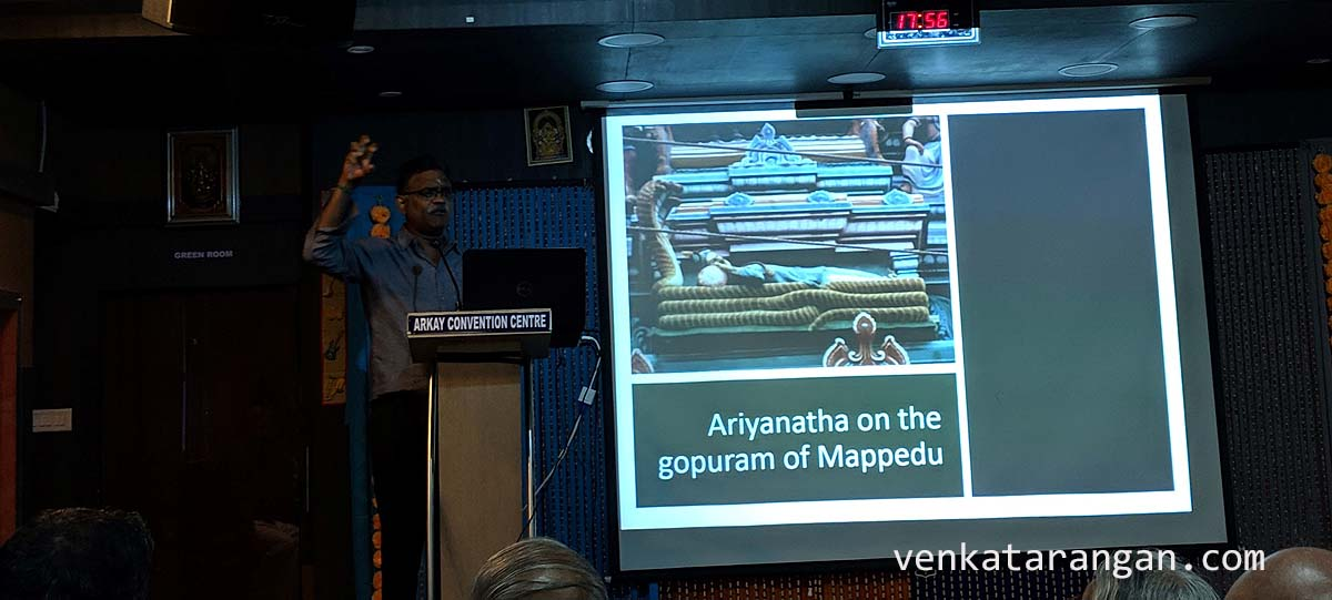 Ariyanatha Mudaliyar was the dalavoy of Vishwanatha Nayak (Governor under King Krishnadevaya of Vijayanagar). It was under him the Madurai kingdom was reorganised into the Palayakkarar system He is commemorated in the Madurai 1000 pillar hall as a donor, and in the temple of his home-town Mappedu, in a pose resembling that of Lord Ranganatha.