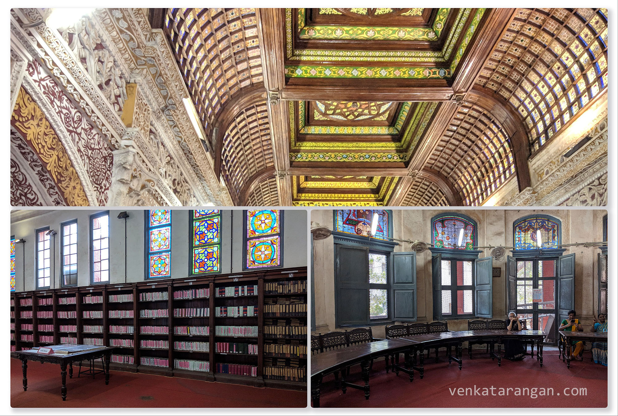 The semi-circular roof, the stained glasses on the walls, and the circular reading room are a visual treat just to see. I would love to be locked up here and the key to be thrown out! Even during the peak Madras Summer, the halls were not hot!