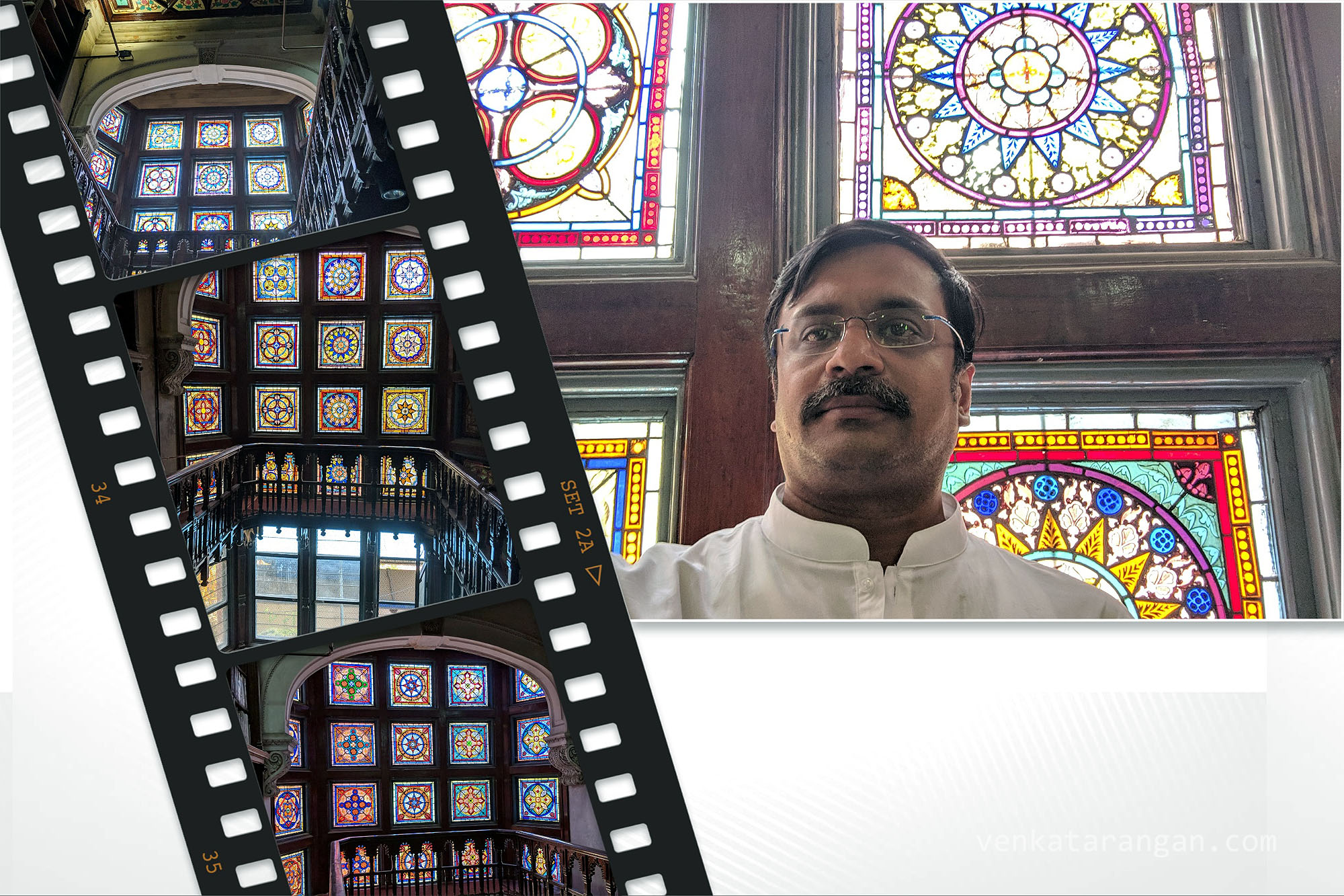 Stained Glasses inside Connemara Public Library, Egmore, Chennai! I feel mesmerised by just looking at them!