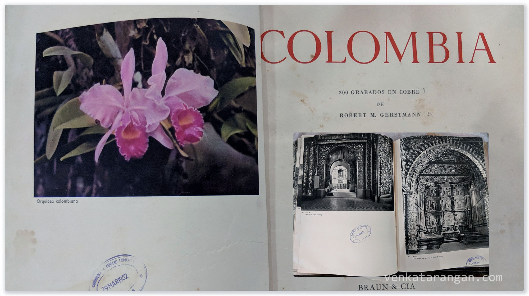 Not only from British India, but the library also has rare books from around the world. This one was about Colombia (200 Grabados En Cobre) by Robert M. Gerstmann with a library seal from 1952