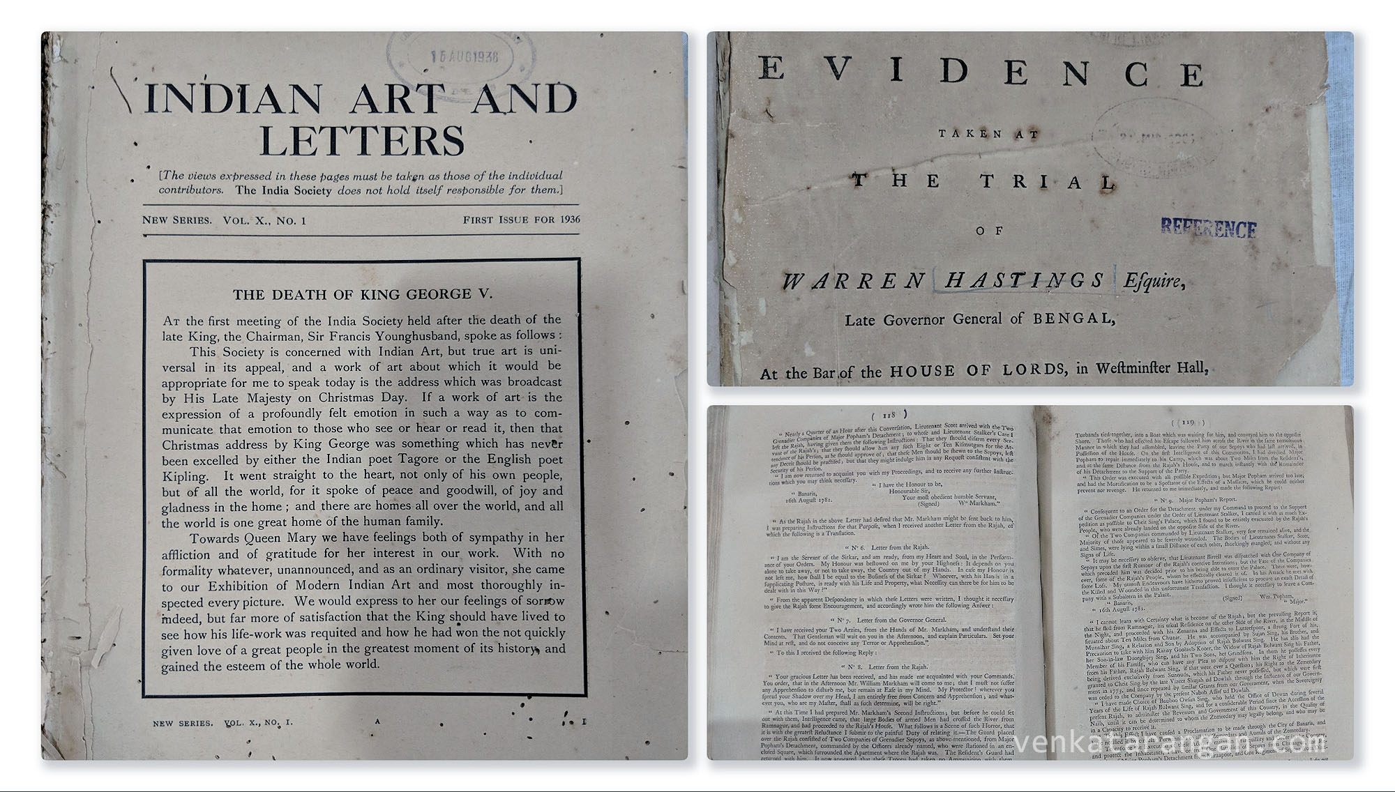 "Indian Art and Letters magazine of 1936 writing about ""The Death of King George V"". Minutes of the evidence of the trial of Warren Hastings, the Governor General of Bengal at the bar of the house of lords, with library seal from 1905."