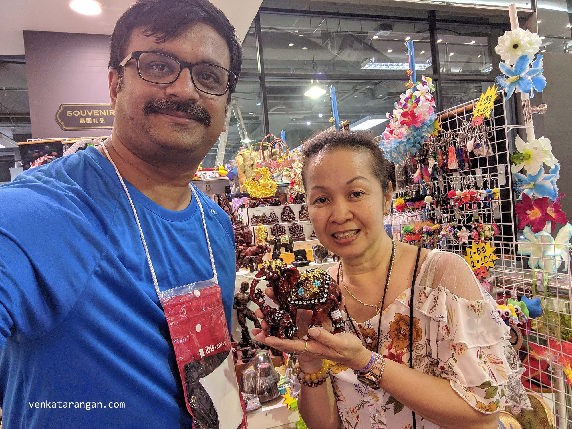The happy shopkeeper at Mike's Shopping Mall, Pattaya who asked for a selfie with me after I bought an Elephant Model - These are the pleasant experiences you wish in a travel!