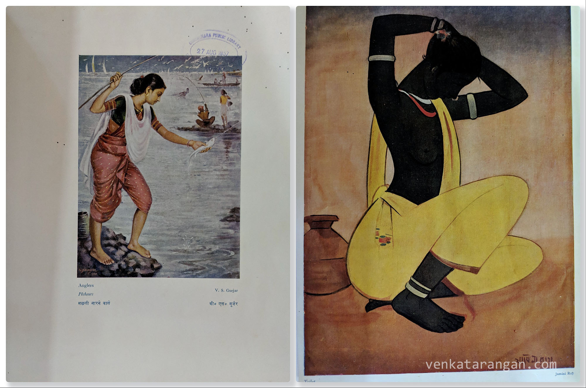 Pages from books showing paintings by famous artists - V.S.Gurjar's Anglers, Jamini Roy's Toilet.
