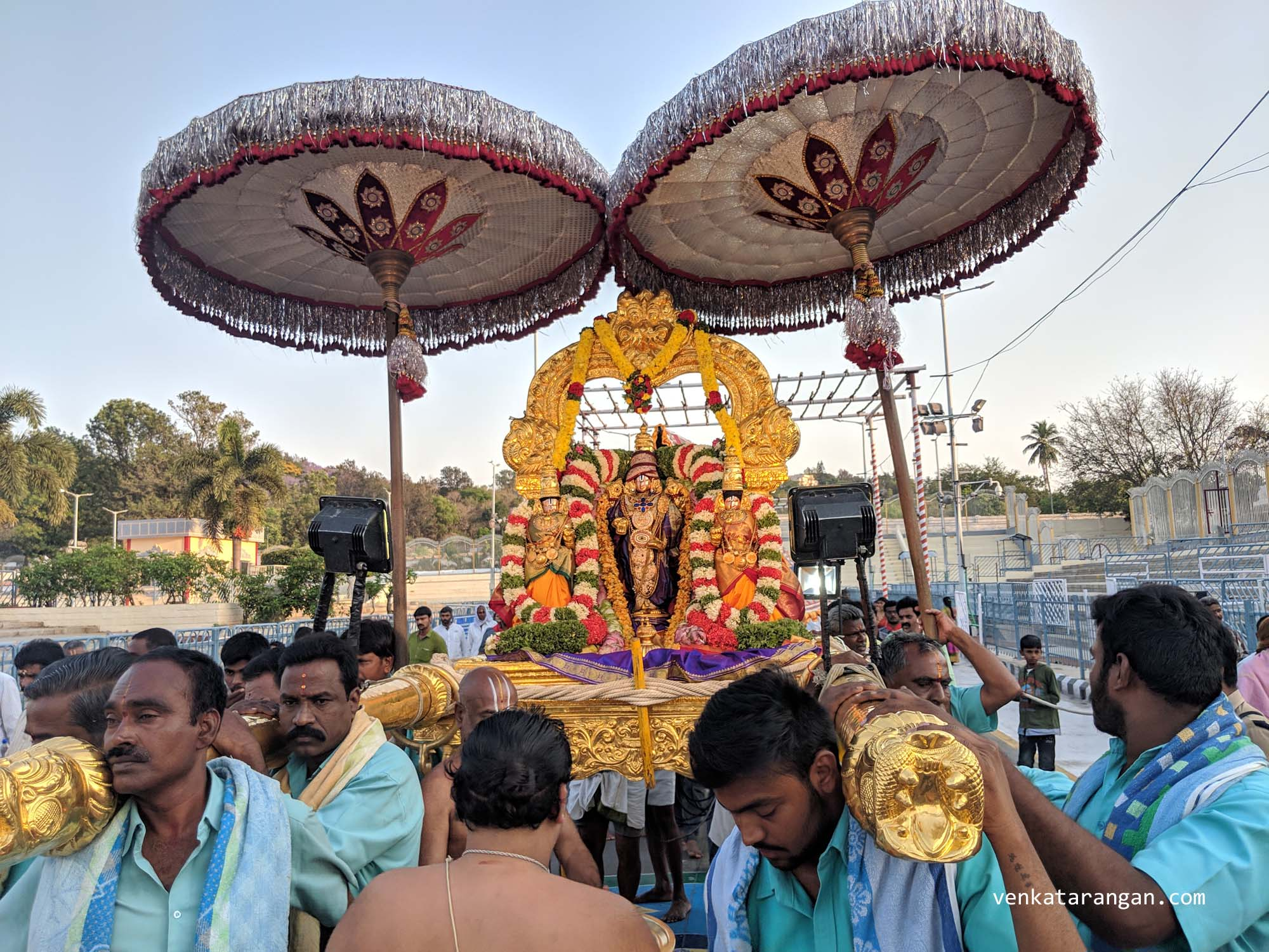 Procession of Goddess Sridevi, Lord Malayappa Swamy and Goddess Bhudevi