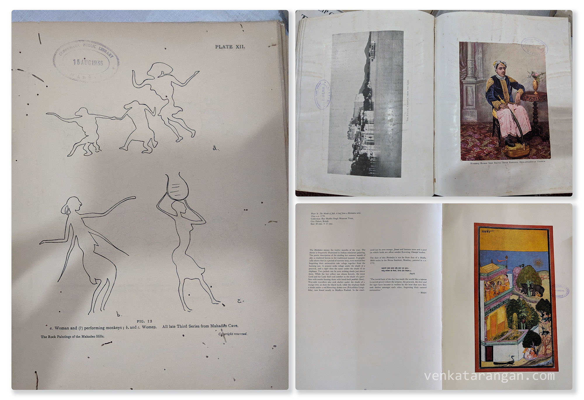 Page from The Rock Paintings of the Mahadeo Hills. Stanley Reed's Royal Tour in India 1906. The Udaipur Palace from the Lake, Picture of Maharaj Kumar Shri Bhopal Singh Bahadur in a book with library seal of 1935. A painting of The Month of Jeth, A leaf from a Baramasa Series from Rao Madho Singh Museum Trust, City Palace, Kotah