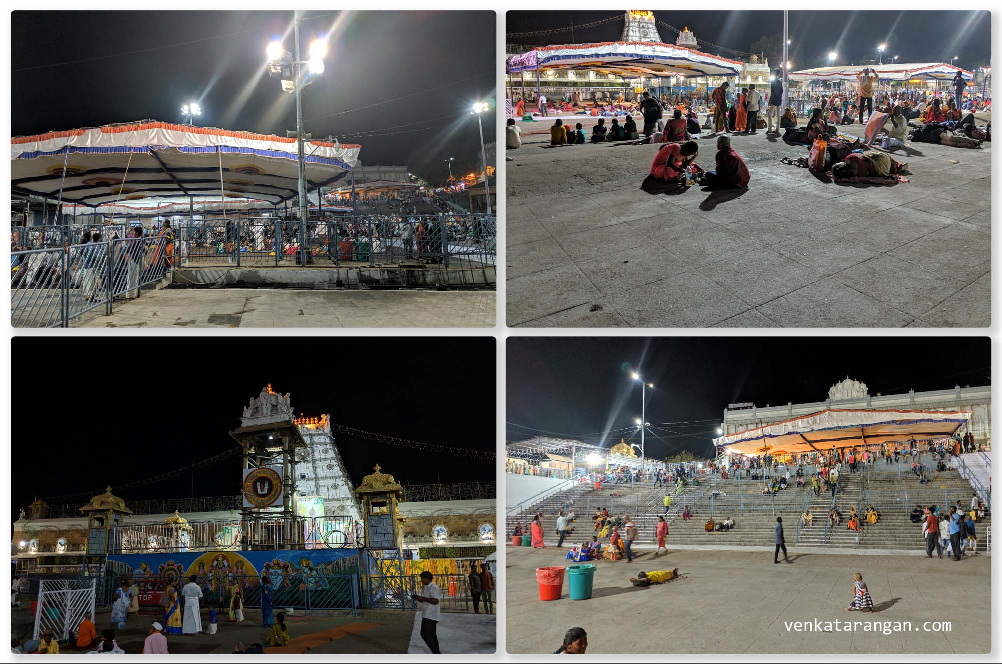 There are a sea of devotees always in Tirumala - though there are plenty of guesthouses (free and paid), many devotees still prefer (or can only afford) to sleep for the night on the open areas around the temple