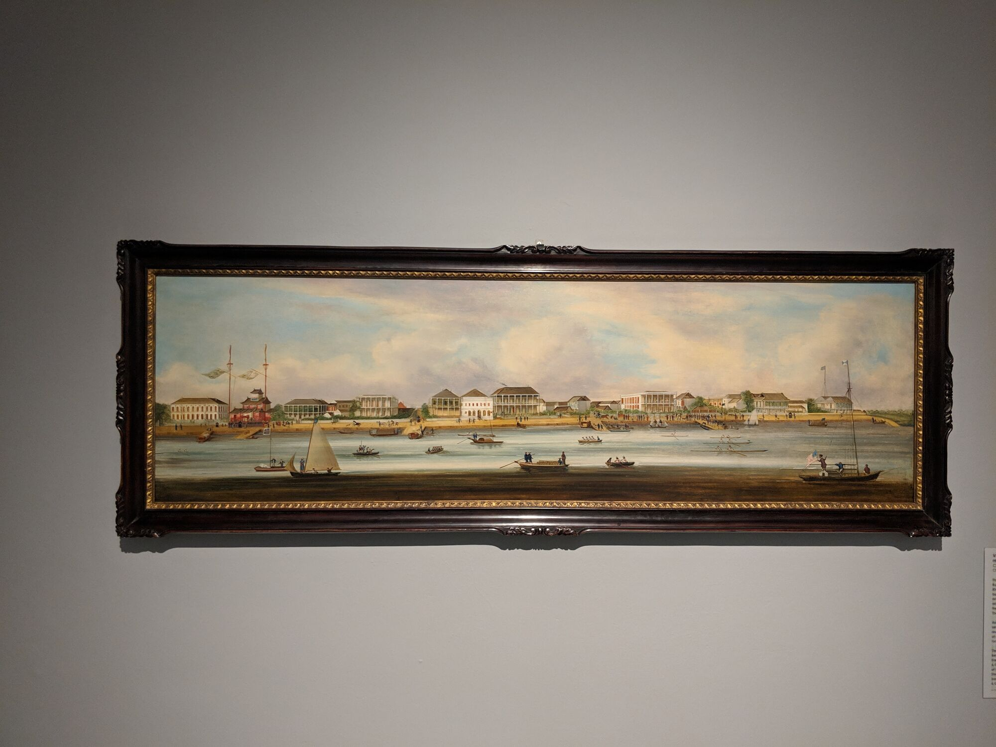 View of the Shanghai Bund, China, 1849-51, one of the earliest views of the Shanghai Bund, the embankment along the Huangpu River where foreign traders set up shop.