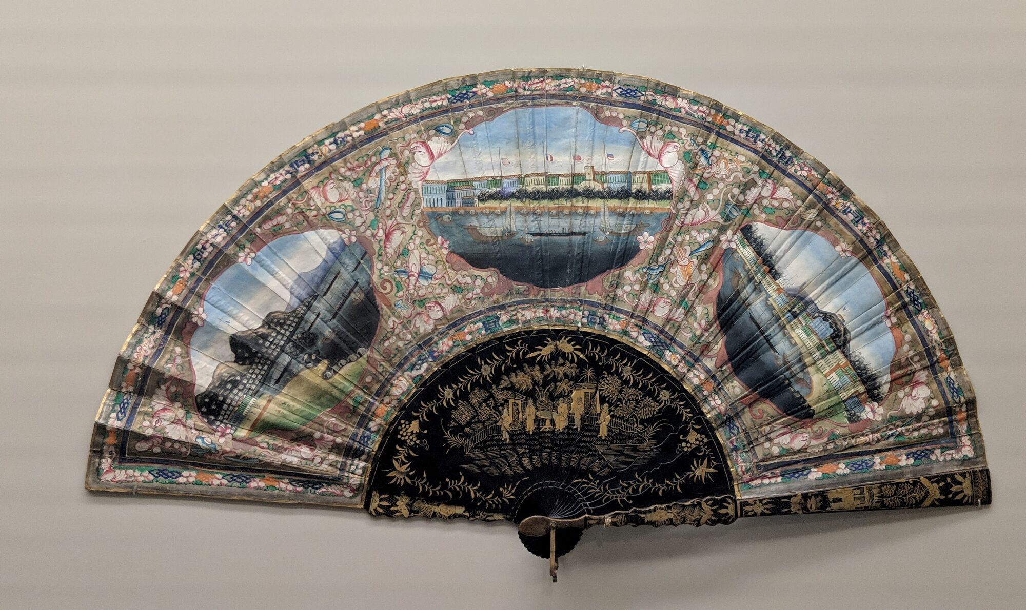 Fan with views of Hong Kong, Guangzhou and Macau, 19th century. Chinese fans were highly sought after in the West.