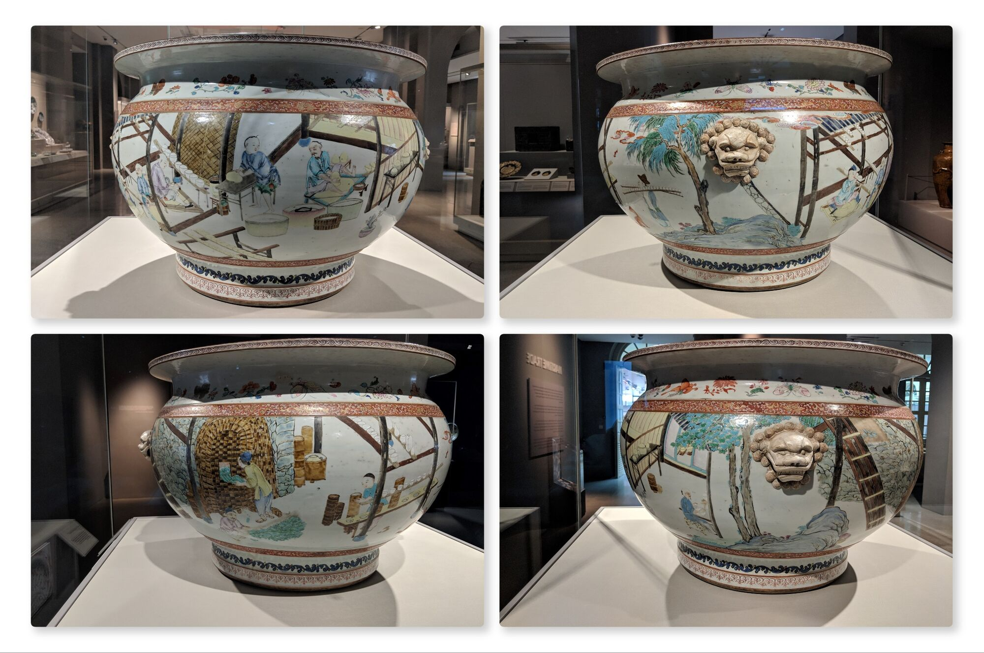 Fish tank depicting the making of porcelain, China, around 1735. Th stages of porcelain production - preparing clay, shaping and glazing bowls, firing in the kiln are shown around the sides of this large porcelain bowl.