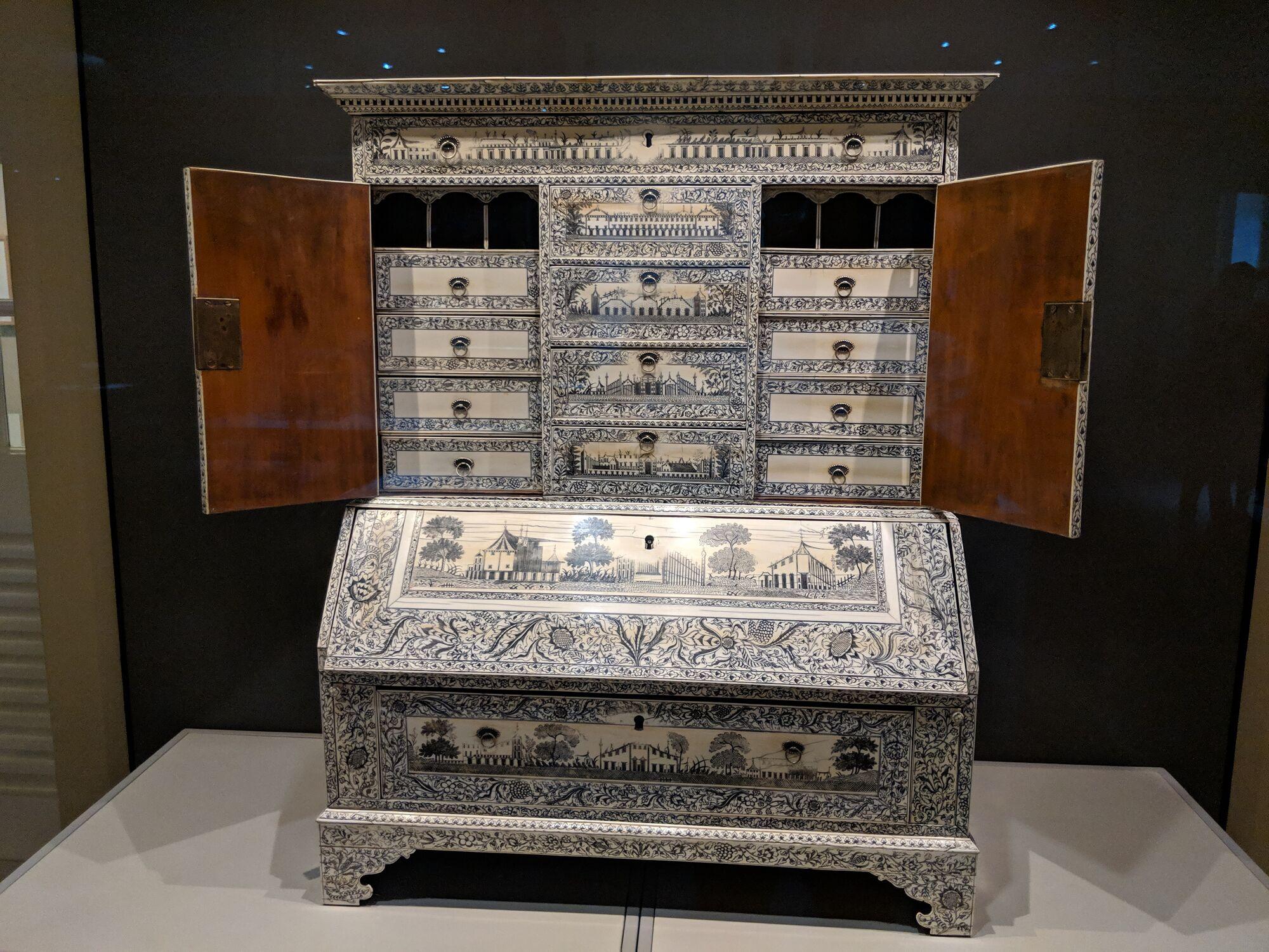 Bureau Cabinet, India, 18th century, Ivory veneered rosewood, lacquer, metal.