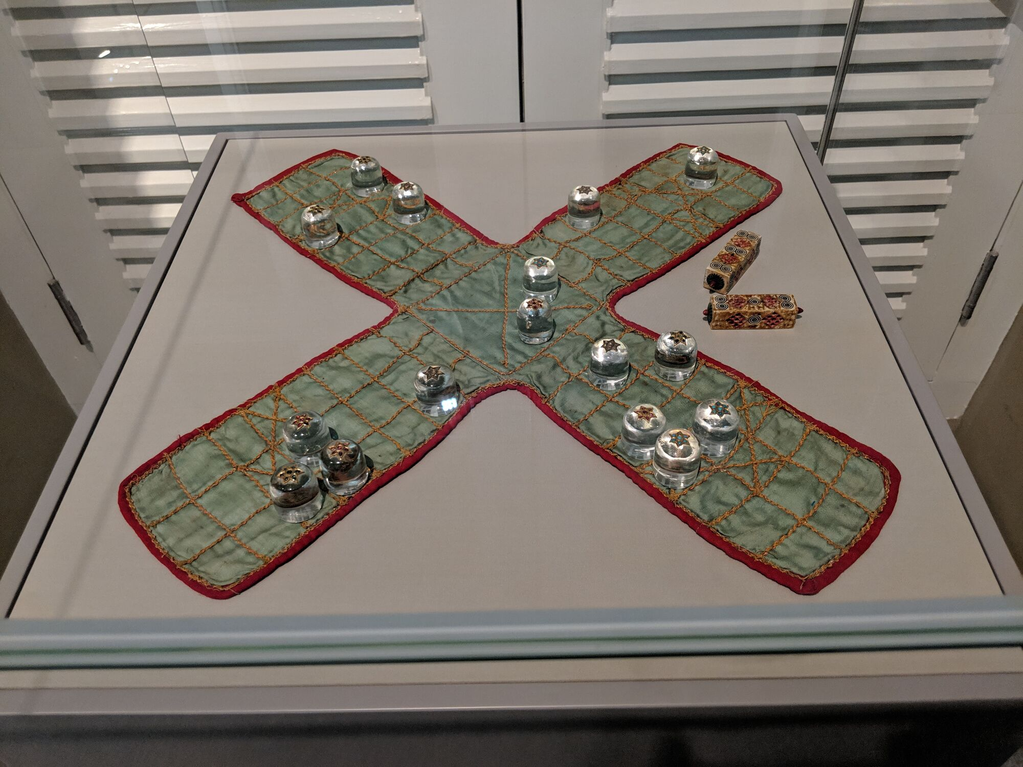 Pachisi set, Game Pieces, India 18th or 19th century, Rock crystal, gemstones, ivory, satin silk