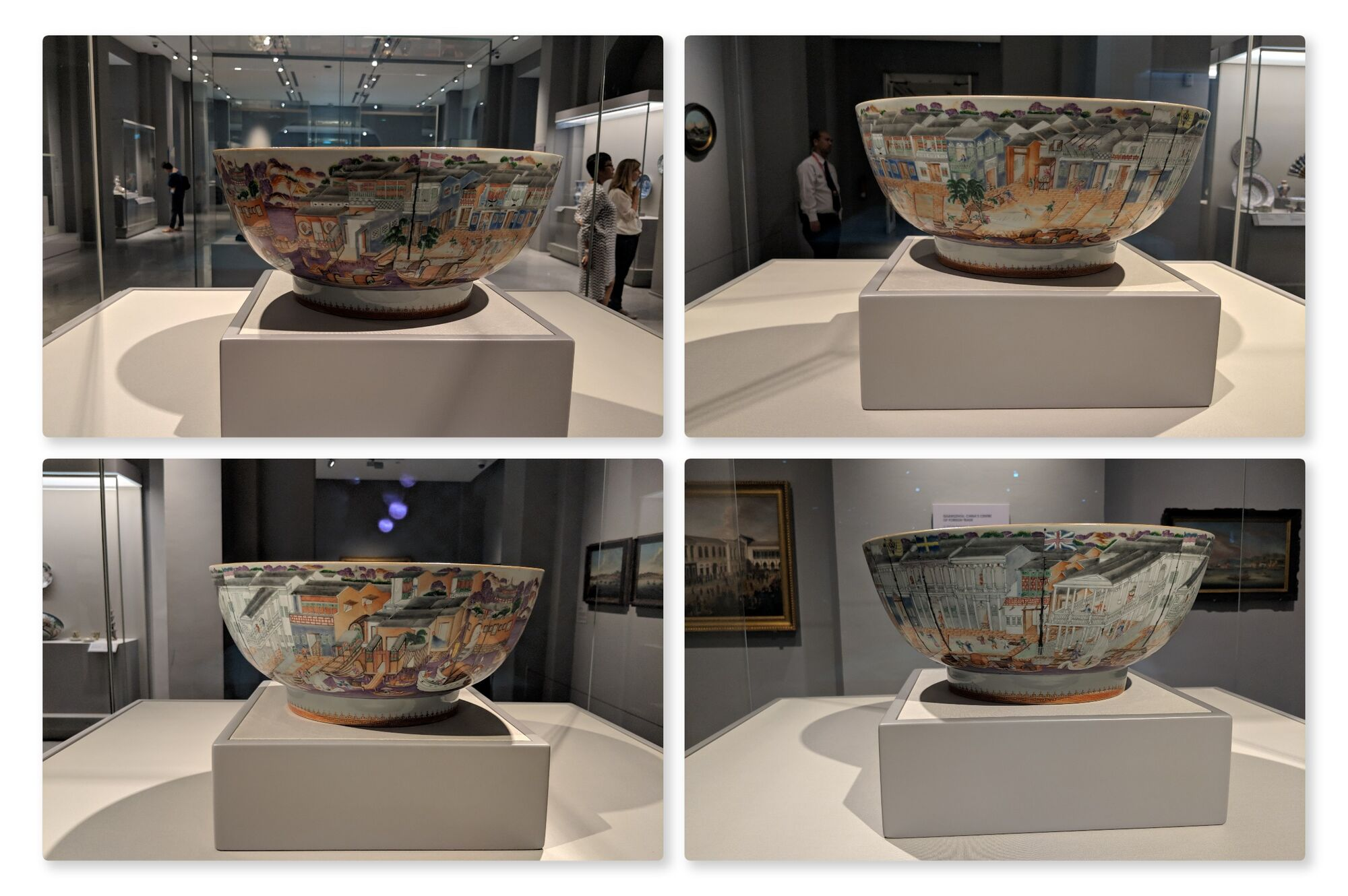 Hong Bowl, China, around 1785, Porcelain. This large punch bowl is decorated with the lively waterfront of Guangzhou, with sailing ships and Western-style buildings flying colourful flags.