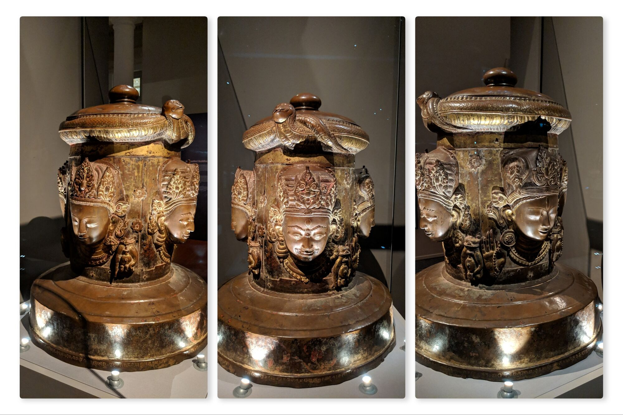 The cover of a linga, Nepal, dated 1636, Copper with gilding. The four heads emerging from the four directions each show a different aspect of Shiva.