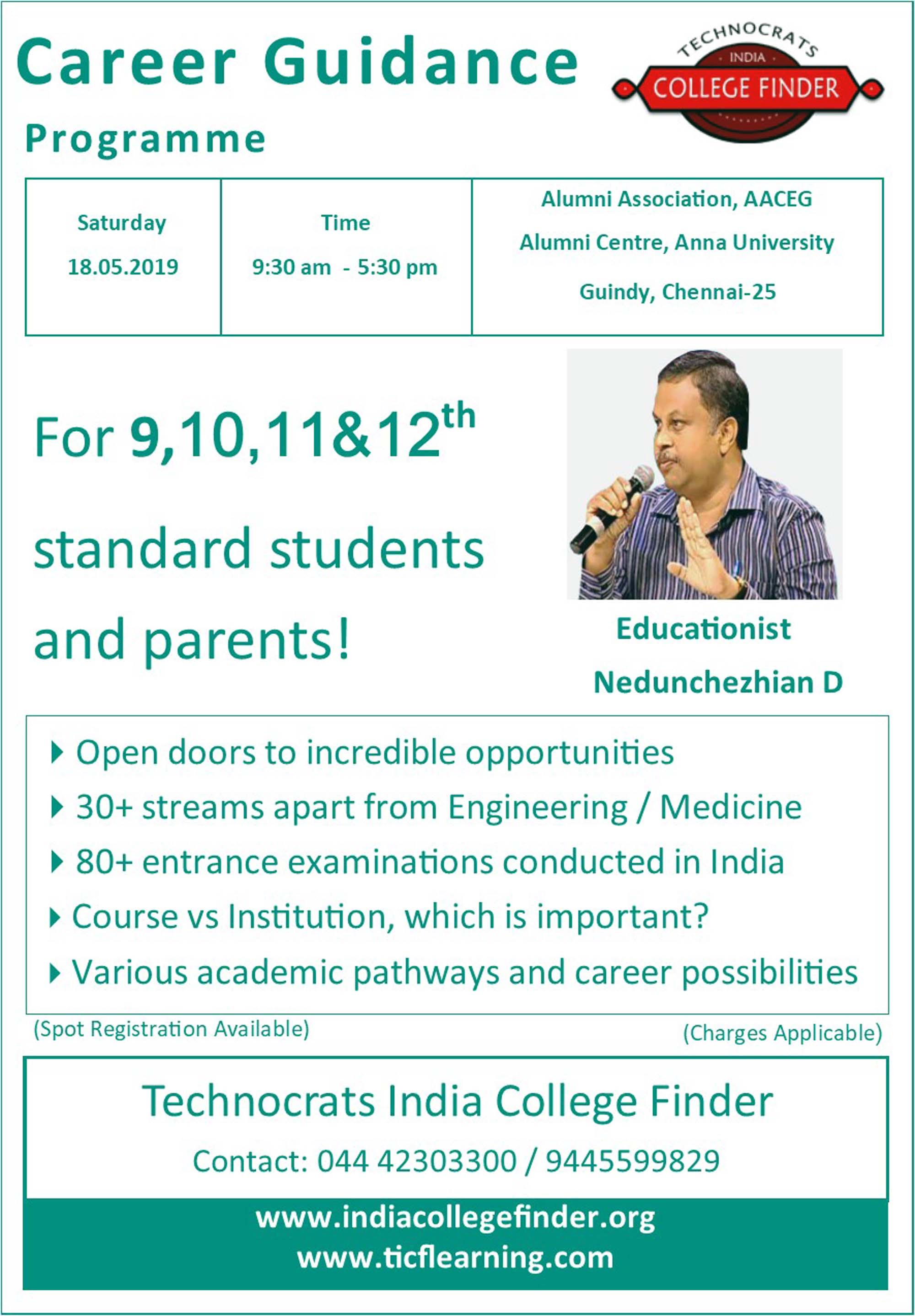 Career Guidance Programme for 9th to 12th standard students and parents by Technocrats India College Finder