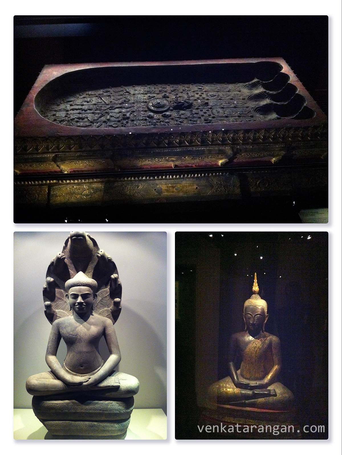 (Top) The Bronze Buddapada Thailand, Rattanakosin period, 19th century, Thailand. In the middle is a Dharmachakra (Wheel of Law), symbolic of Buddha's teachings. It is surrounded by the 108 symbols of good omens, animals of the horoscope and royal insignia.