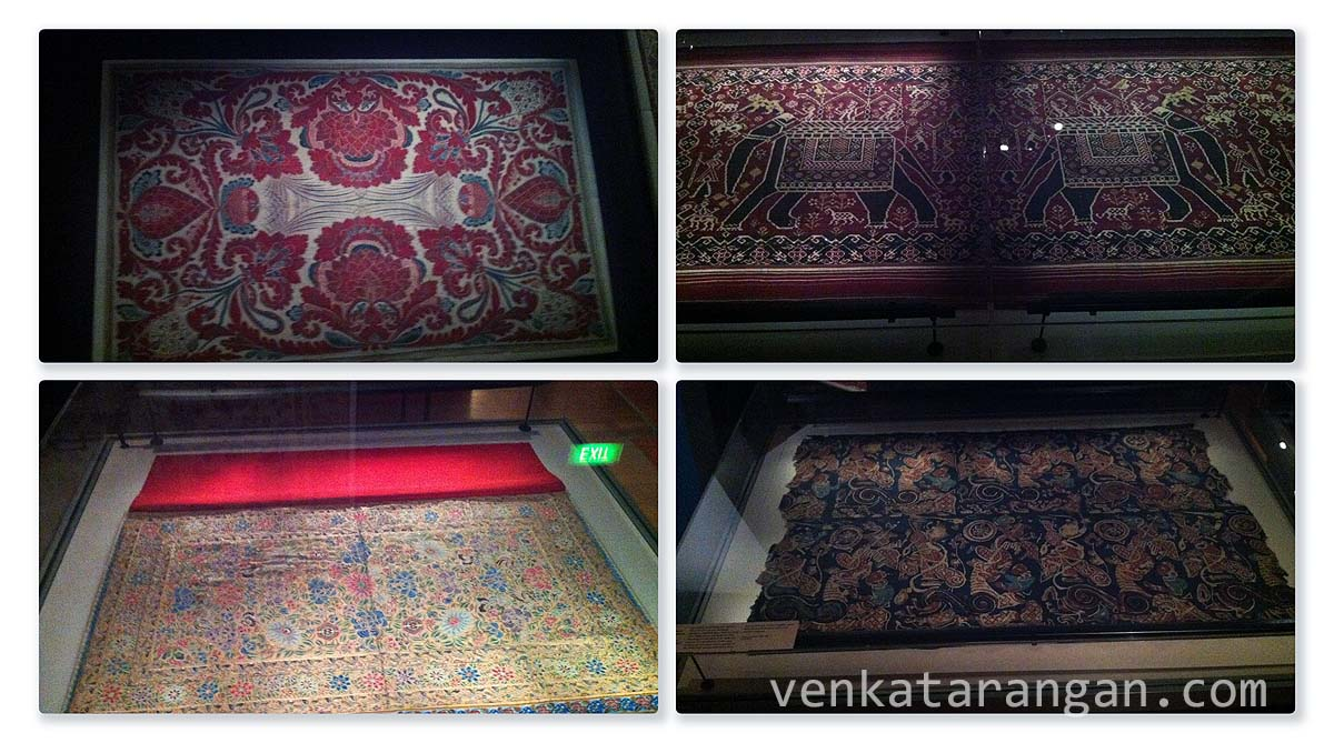 "In the section ""When India clothed the world"" there are many types of fabric and textile handwork from various centuries"