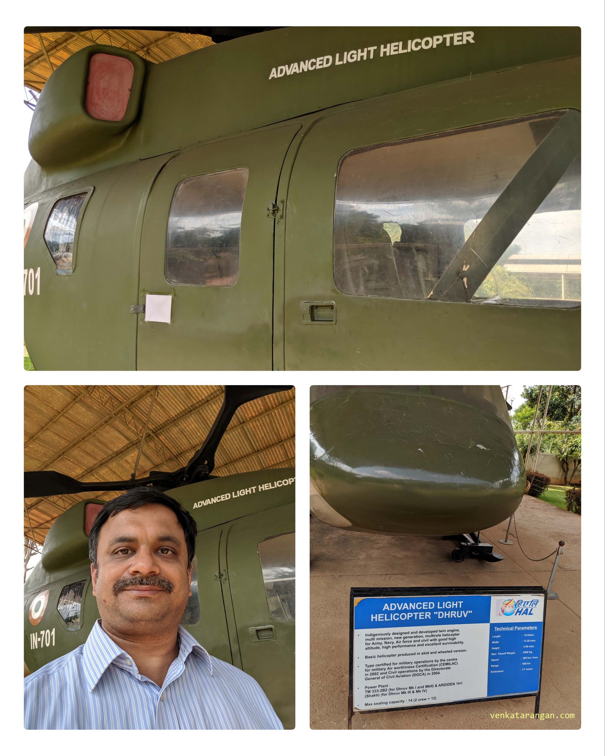 "The closest I have come to India's indigenously designed Advanced Light Helicopter ""Dhruv"". — at HAL Aerospace Museum."