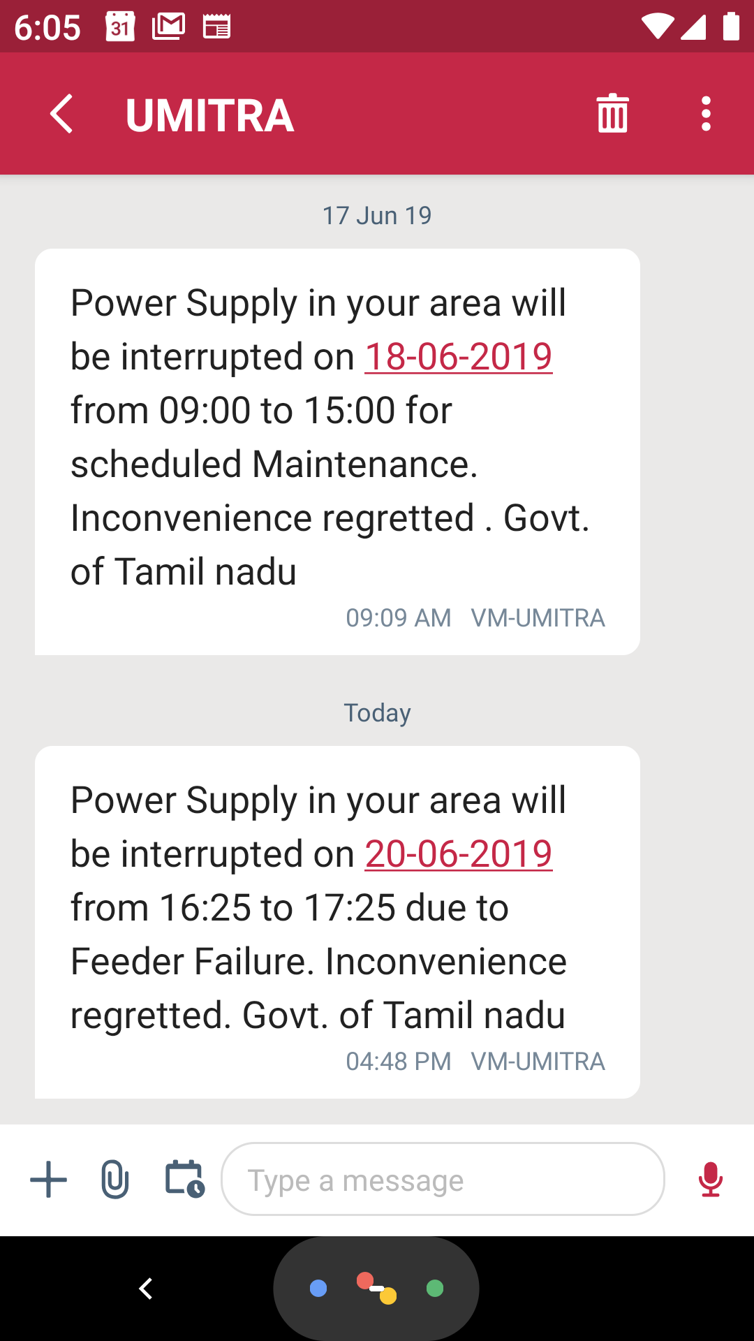 SMS from Tangedco