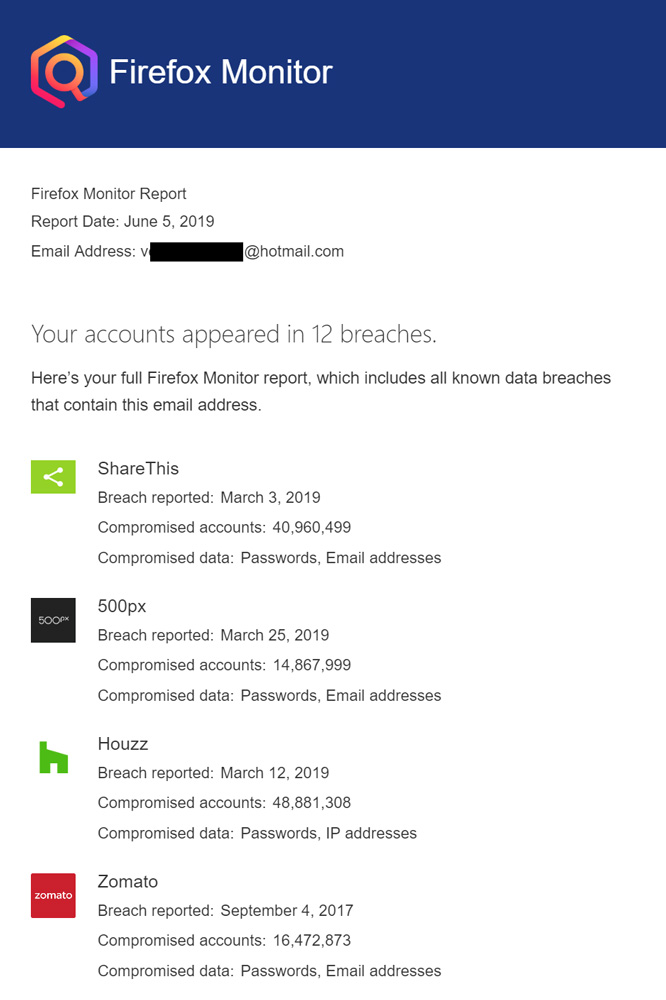 My Hotmail ID was found in 12 breaches, though I had changed my passwords earlier, just to be safe, I did change them all again. To be clear, these 12 breaches never occurred in Hotmail/Microsoft systems, it means the email I gave as username to these services were compromised.