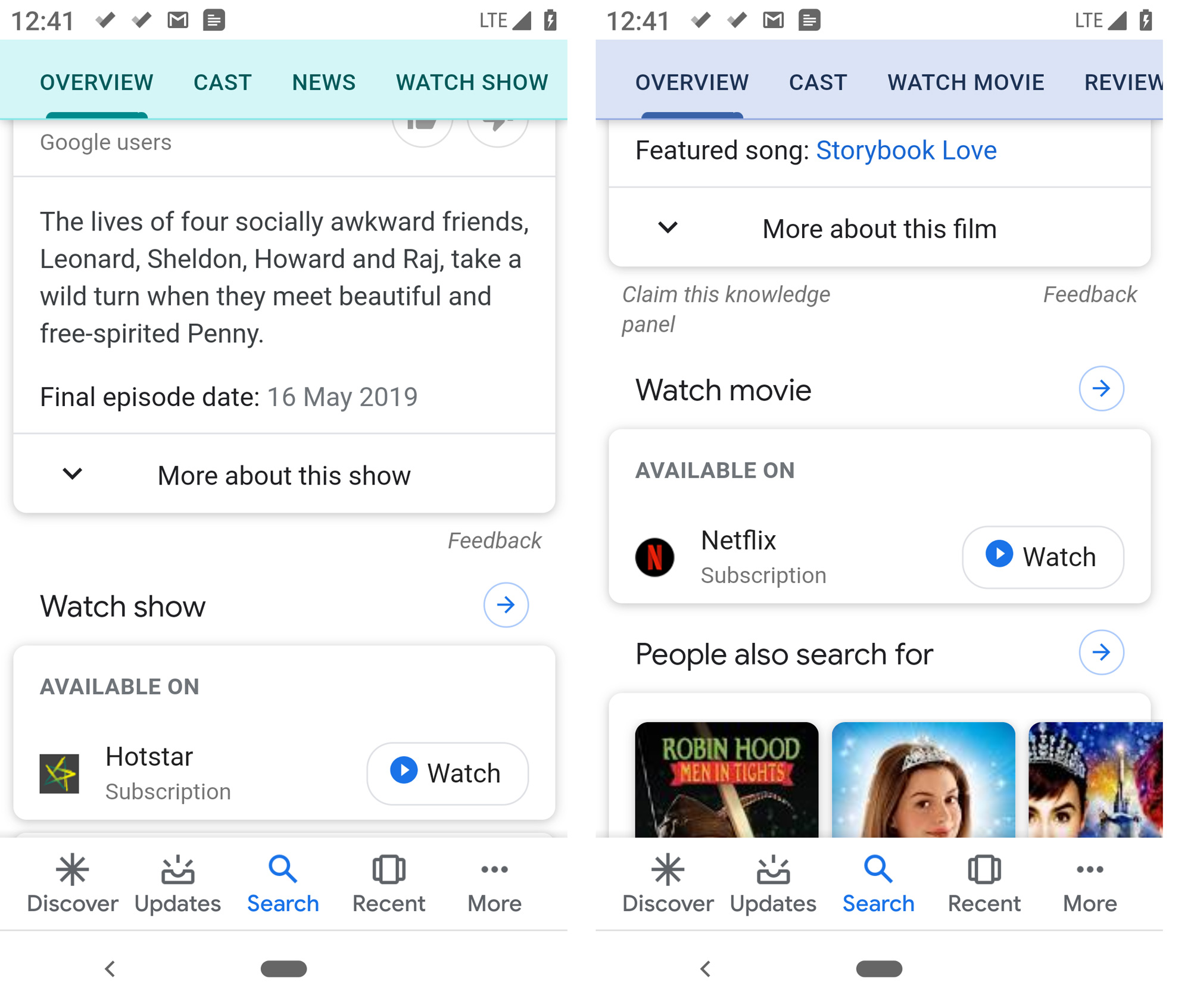As seen on mobile - Google Search in India now include results from Hotstar (on the left) and Netflix (on the right)