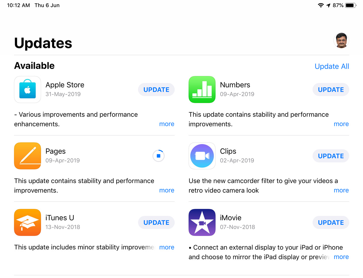 iOS Apps updates