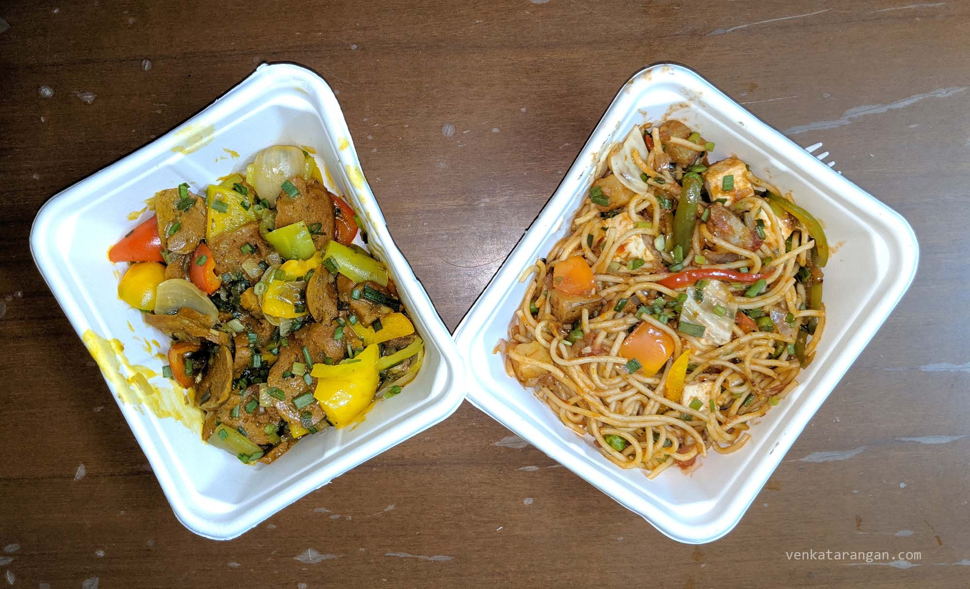"(On the left) ""Veg sausage and pepper medley"" and (On the right) ""Veg Mee Goreng"" from Pumpkin Tales"
