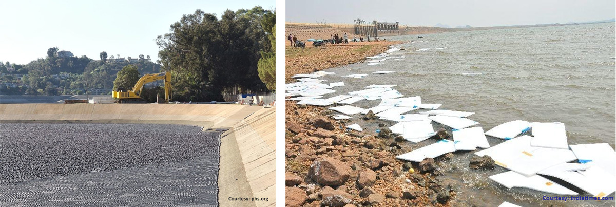 Lack of scientific rigour - Shade balls in a reservoir vs Thermocol floated on the Vaigai dam in Madurai.