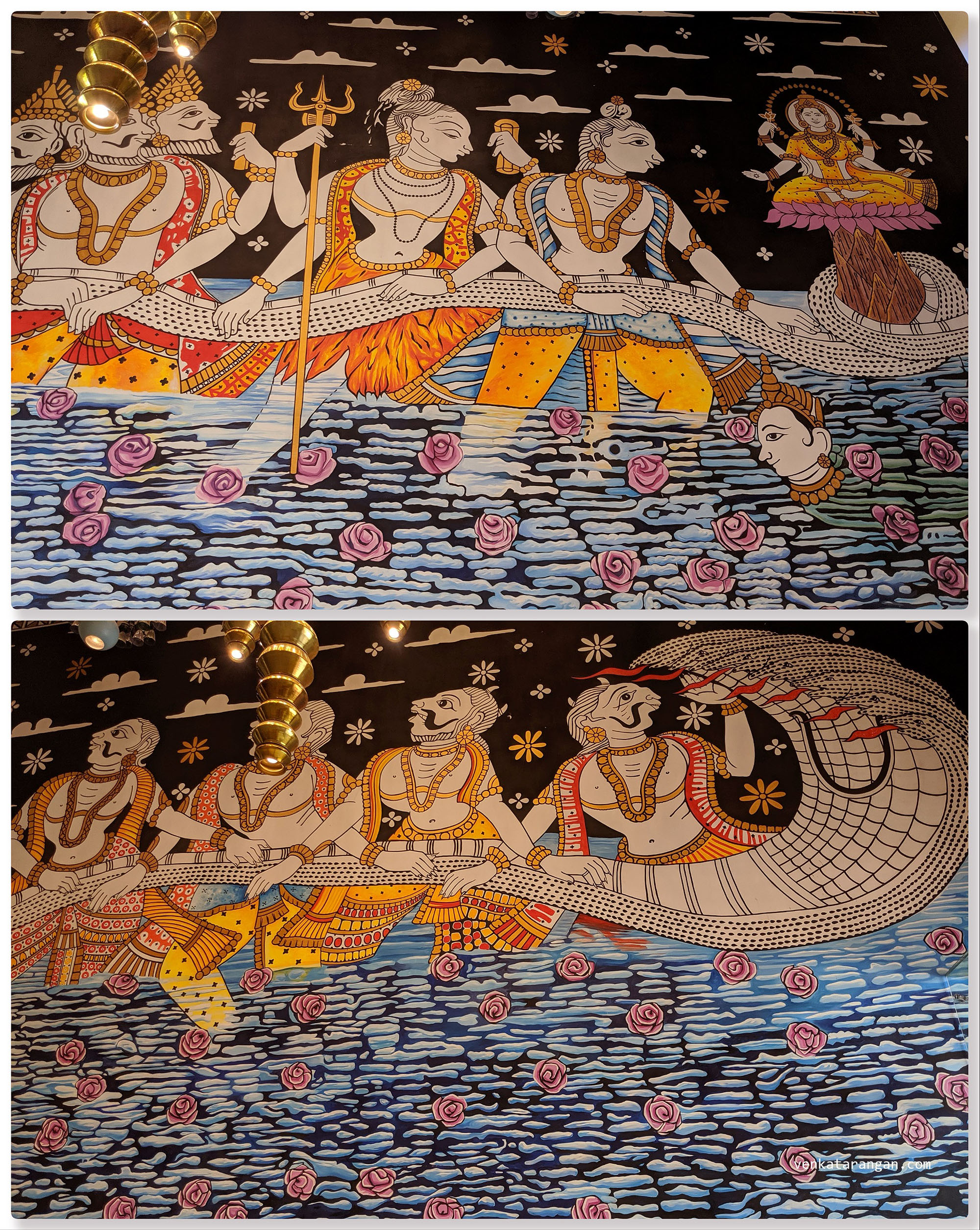 Dasavaratharam - 2. The Kurma can be seen near a water stream and in this painting that shows the act of Samudra Manthan that involved churning of cosmic ocean in the search for Amrut (the nectar of immortality)